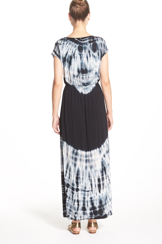 Tie Dye Faux Wrap Maxi Dress,                             Alternate thumbnail 6, color,                             001
