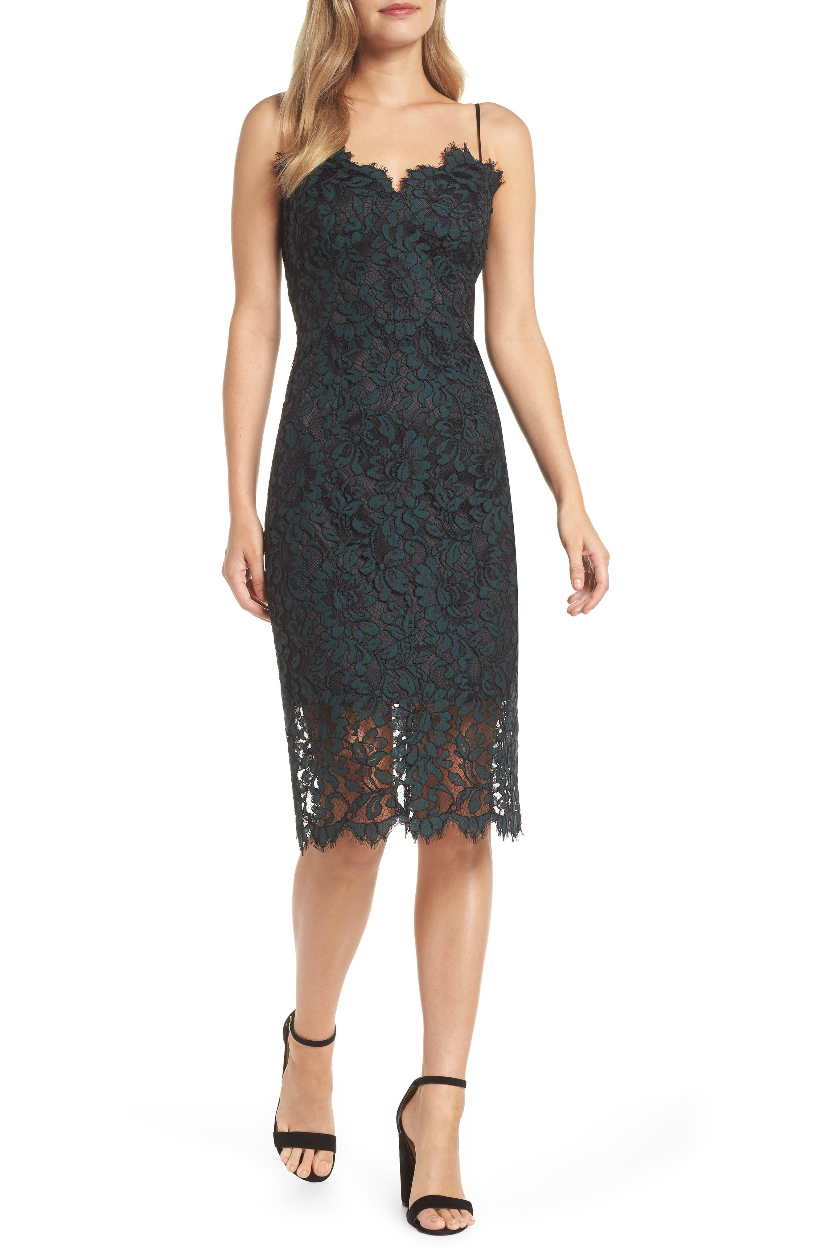 Sweetheart Neck Lace Sheath Dress, Main, color, GREEN