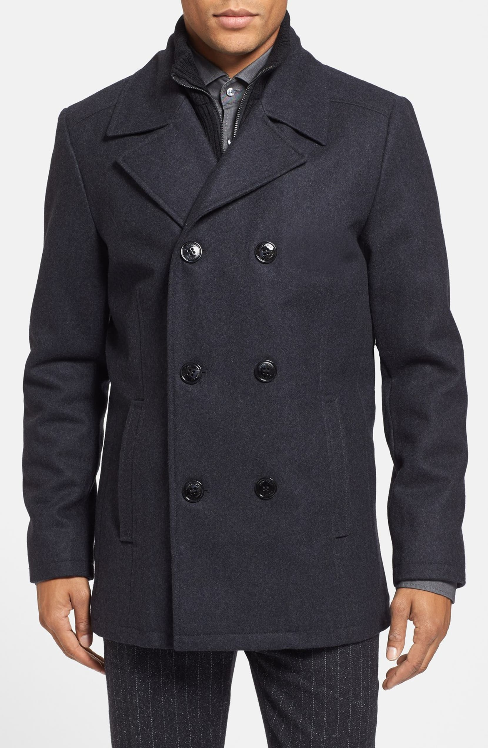 46a172db9cc Kenneth Cole Reaction Regular Fit Double Breasted Wool Blend Peacoat with  Knit Bib