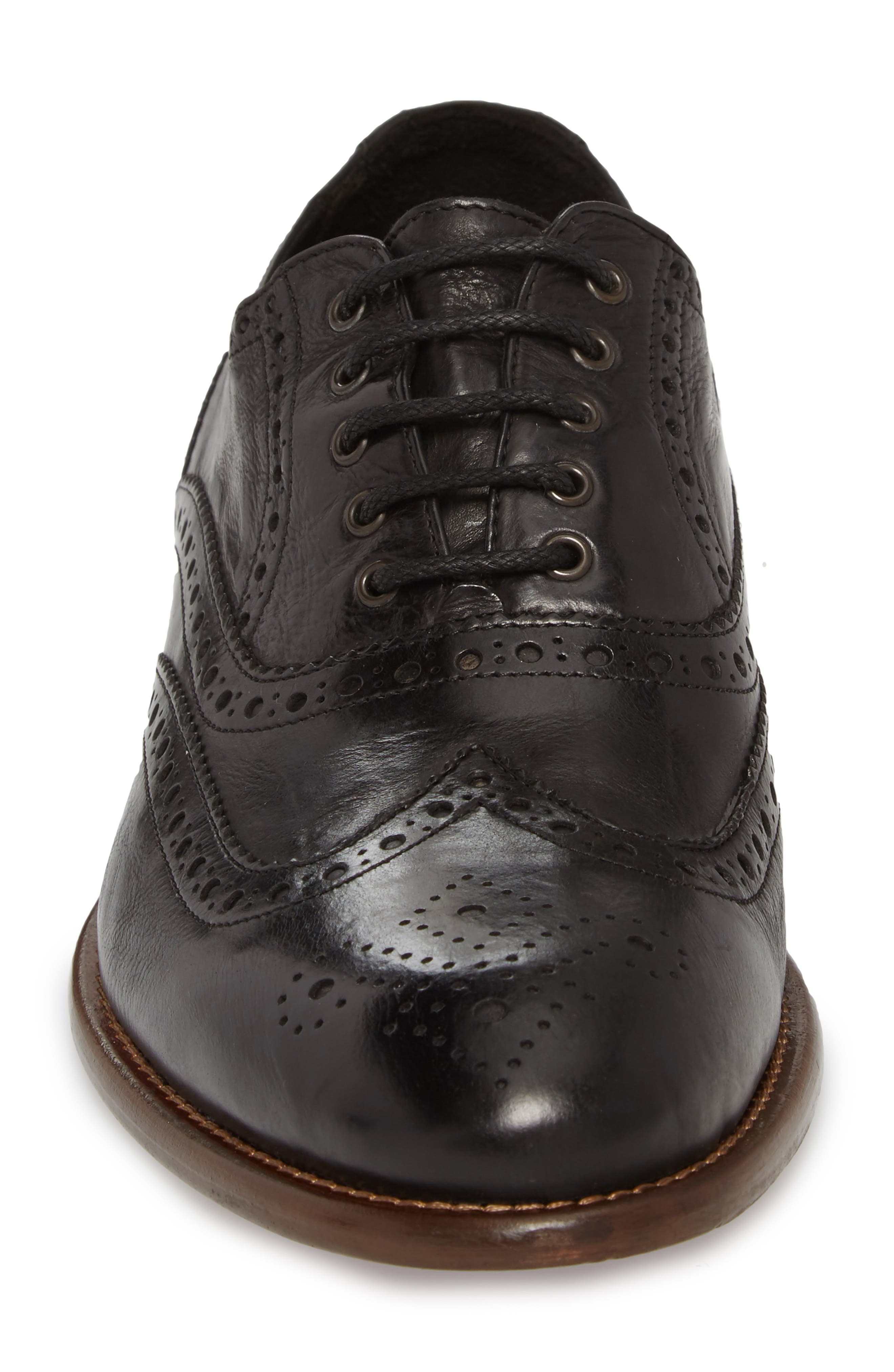 Bryson Wingtip Oxford,                             Alternate thumbnail 4, color,                             BLACK LEATHER