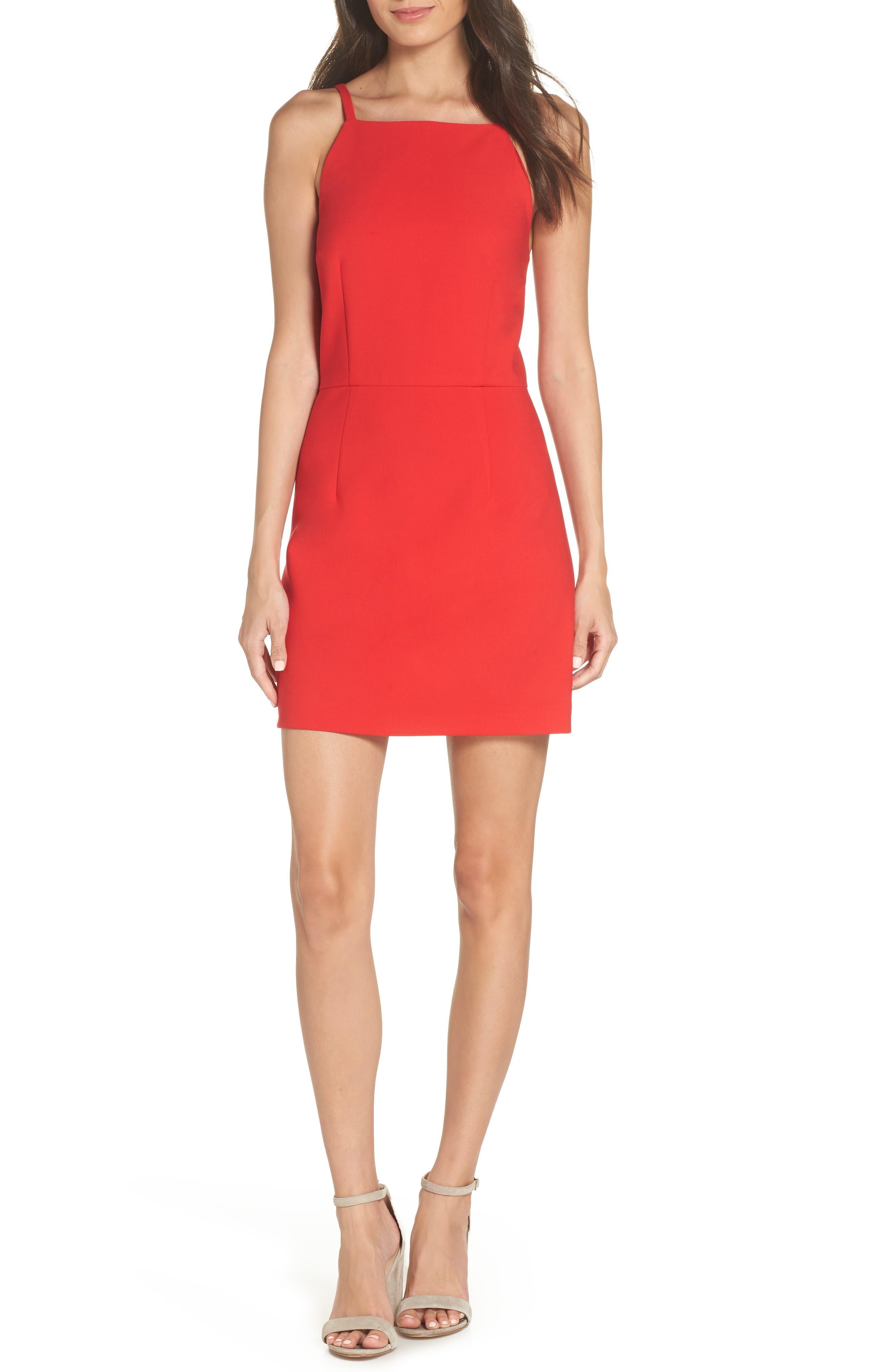 Whisper Light Sheath Dress,                         Main,                         color, ROYAL SCARLETT