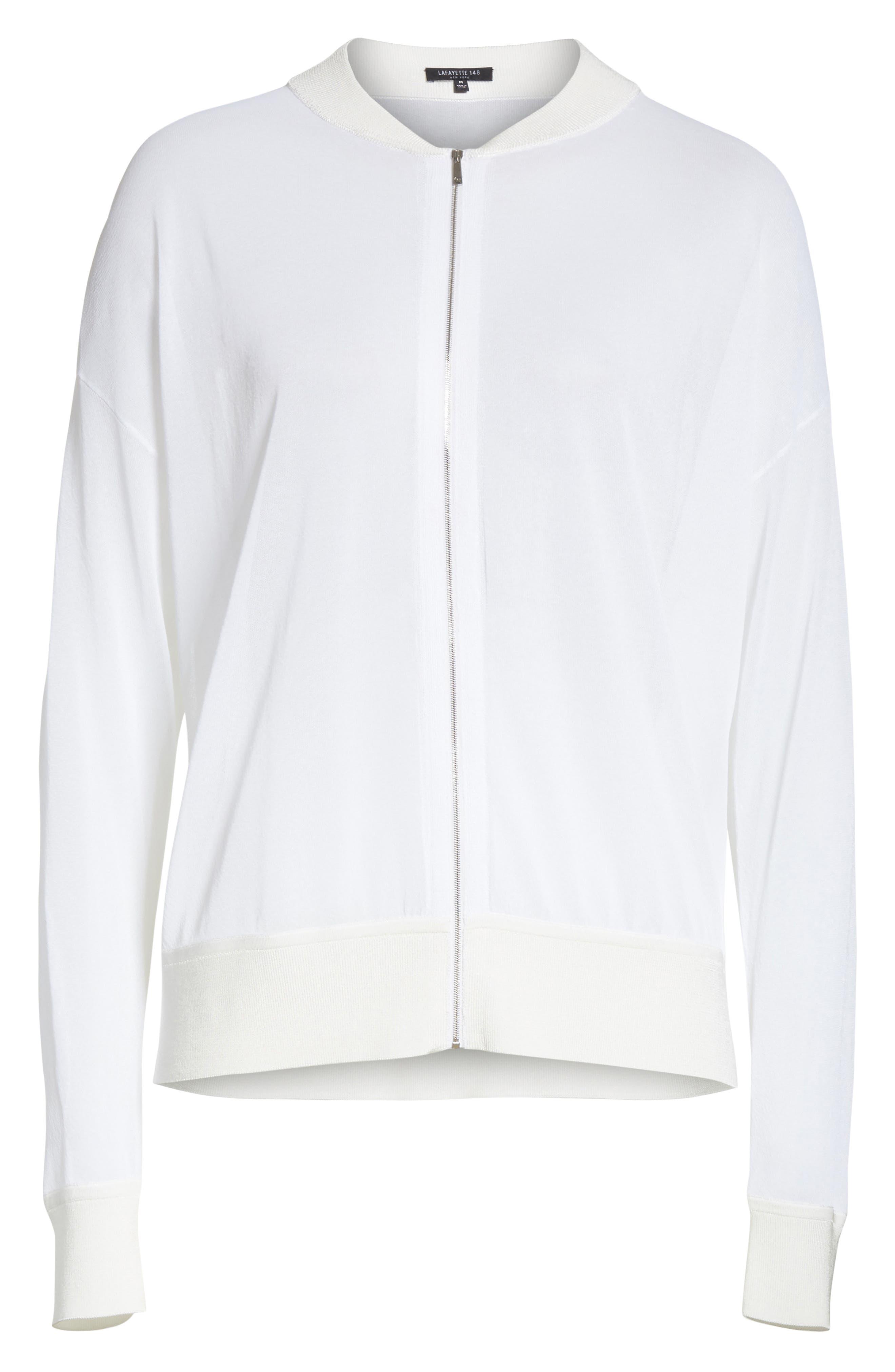 Ethereal Sheer Knit Bomber Jacket,                             Alternate thumbnail 6, color,                             100