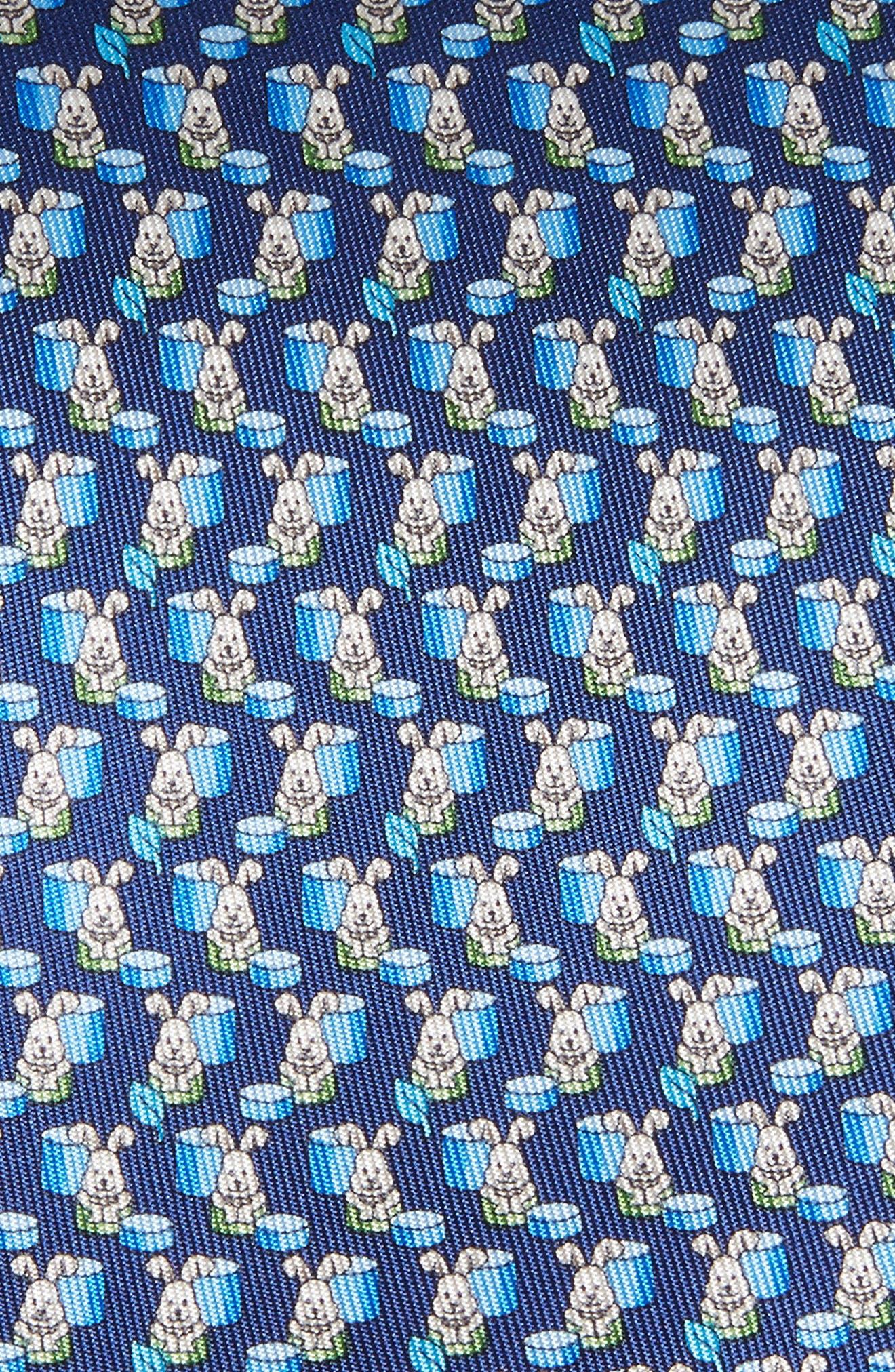 Bunny Print Silk Tie,                             Alternate thumbnail 2, color,                             430