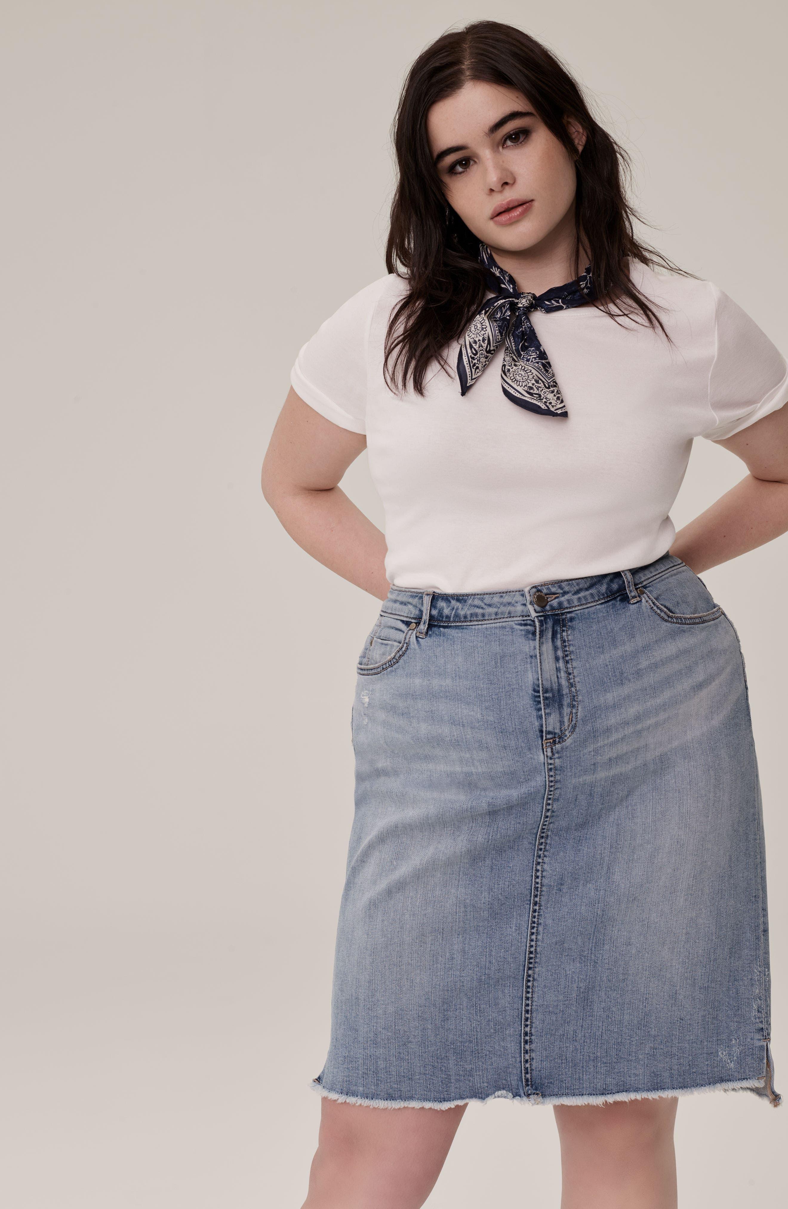 Raw Edge Denim Skirt,                             Alternate thumbnail 7, color,                             401