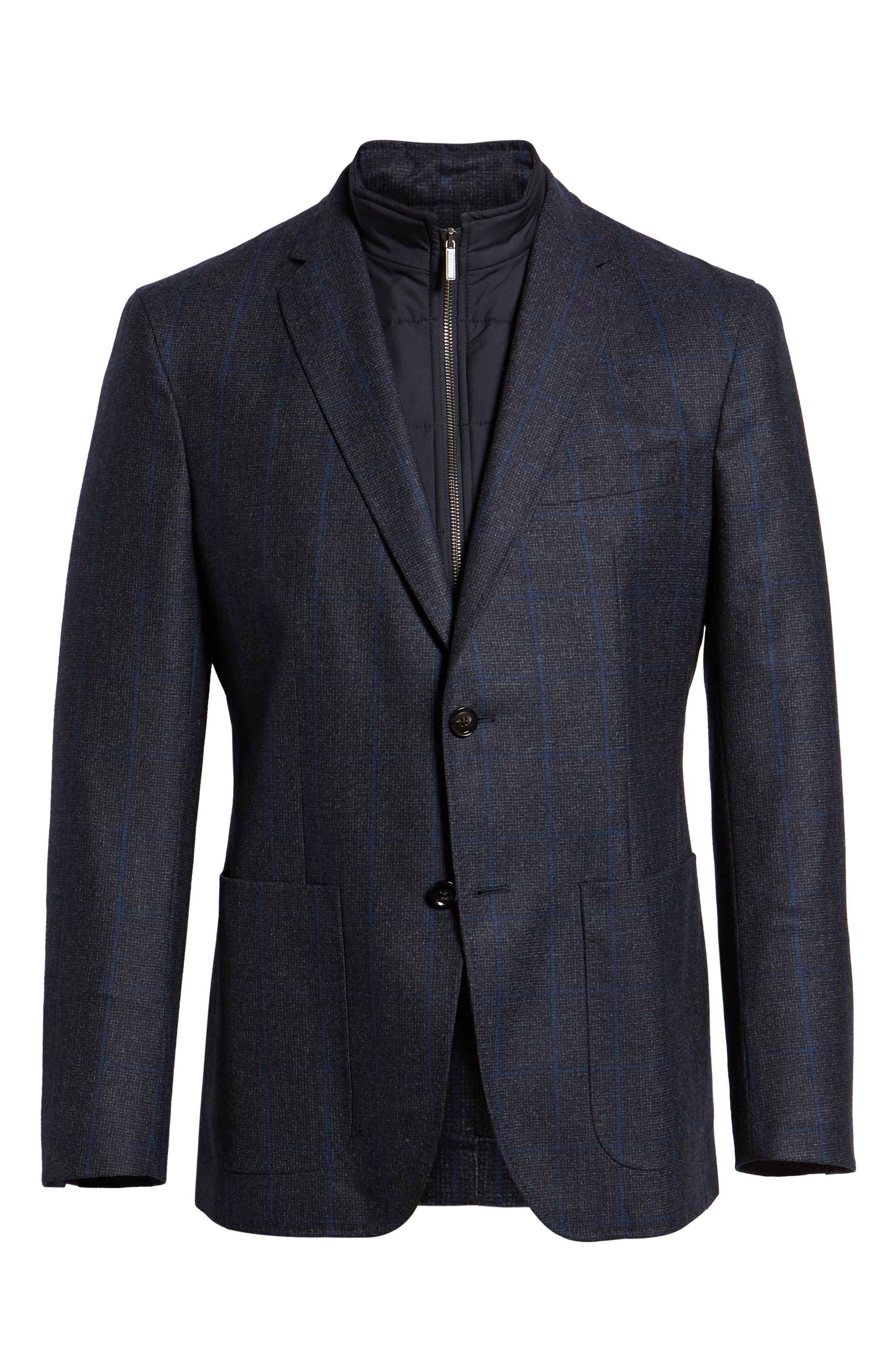 Tucker Trim Fit Windowpane Wool Sport Coat,                             Alternate thumbnail 5, color,                             BLUE