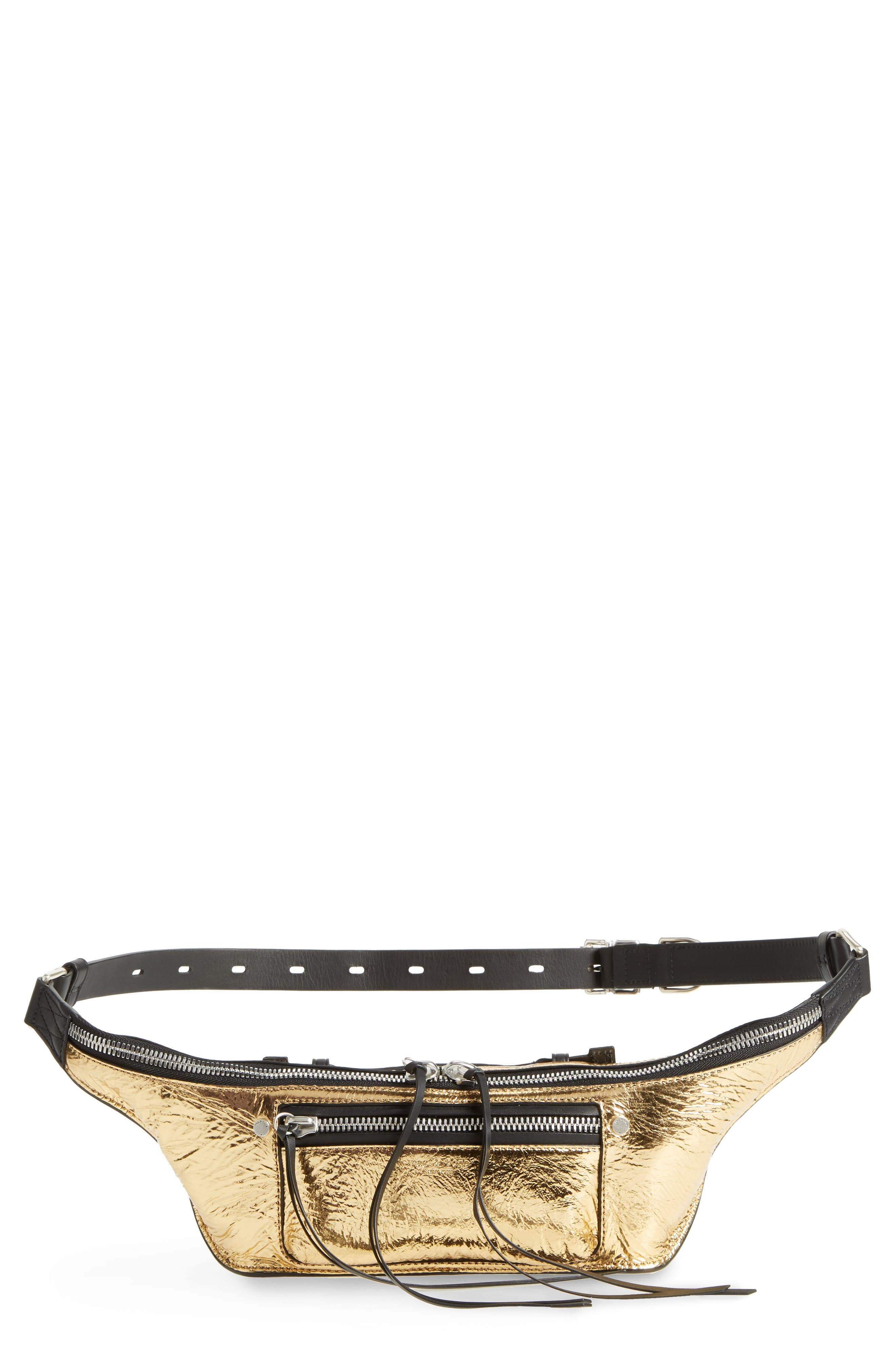Small Elliot Leather Fanny Pack,                         Main,                         color, GOLD