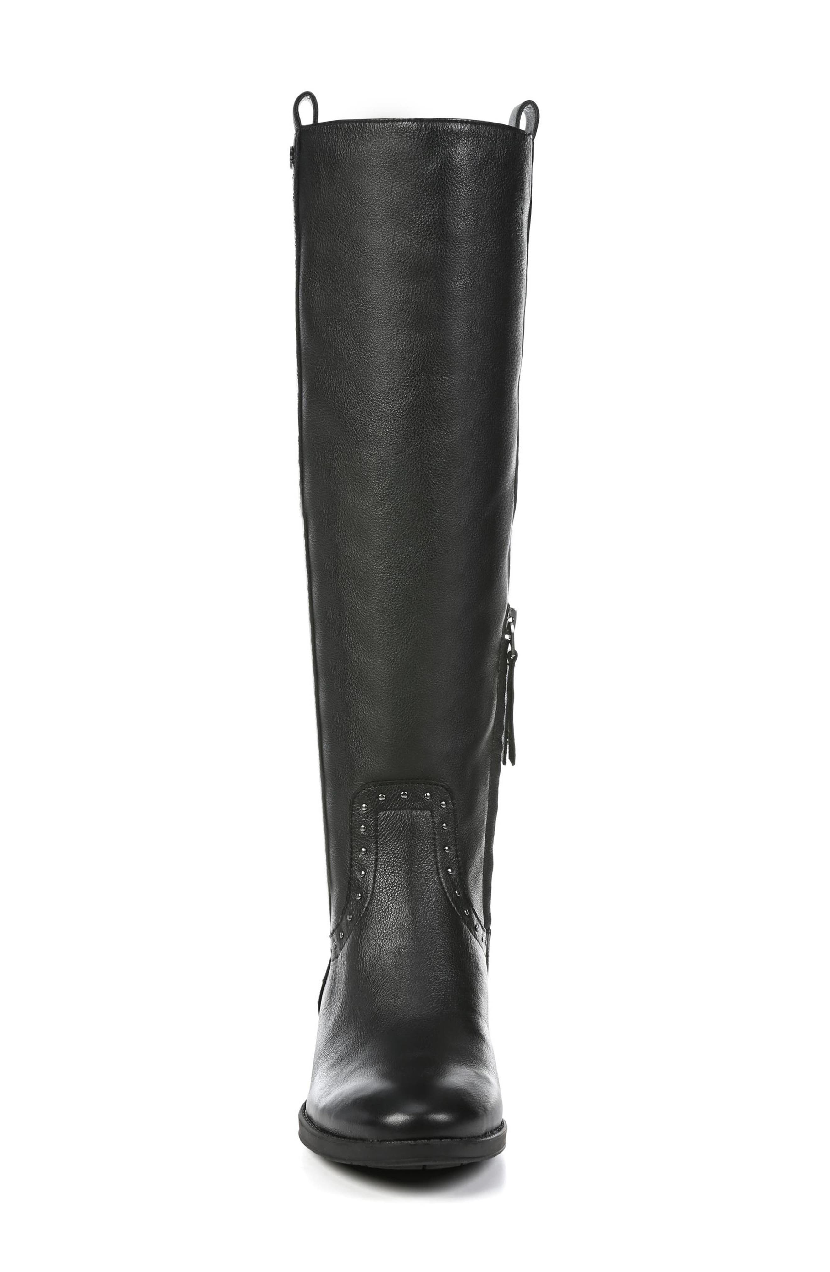 Prina Riding Boot,                             Alternate thumbnail 4, color,                             BLACK LEATHER