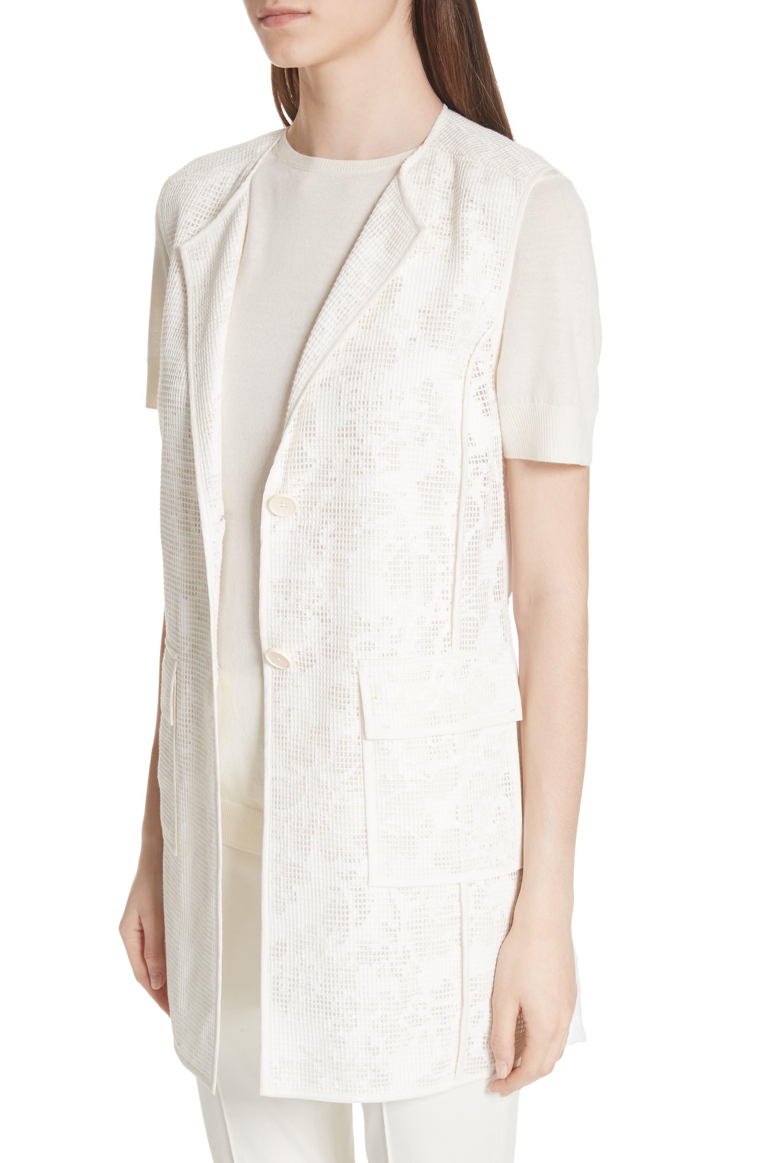 Burnout Netting Vest,                             Alternate thumbnail 4, color,                             CREAM/ BIANCO