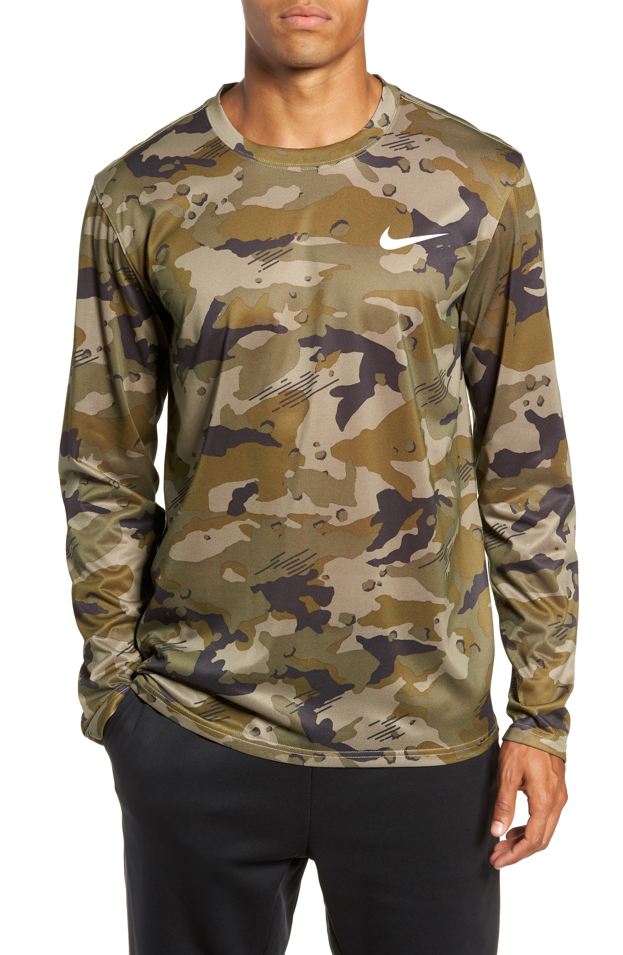 Nike Dry Long Sleeve Camo T-Shirt Green