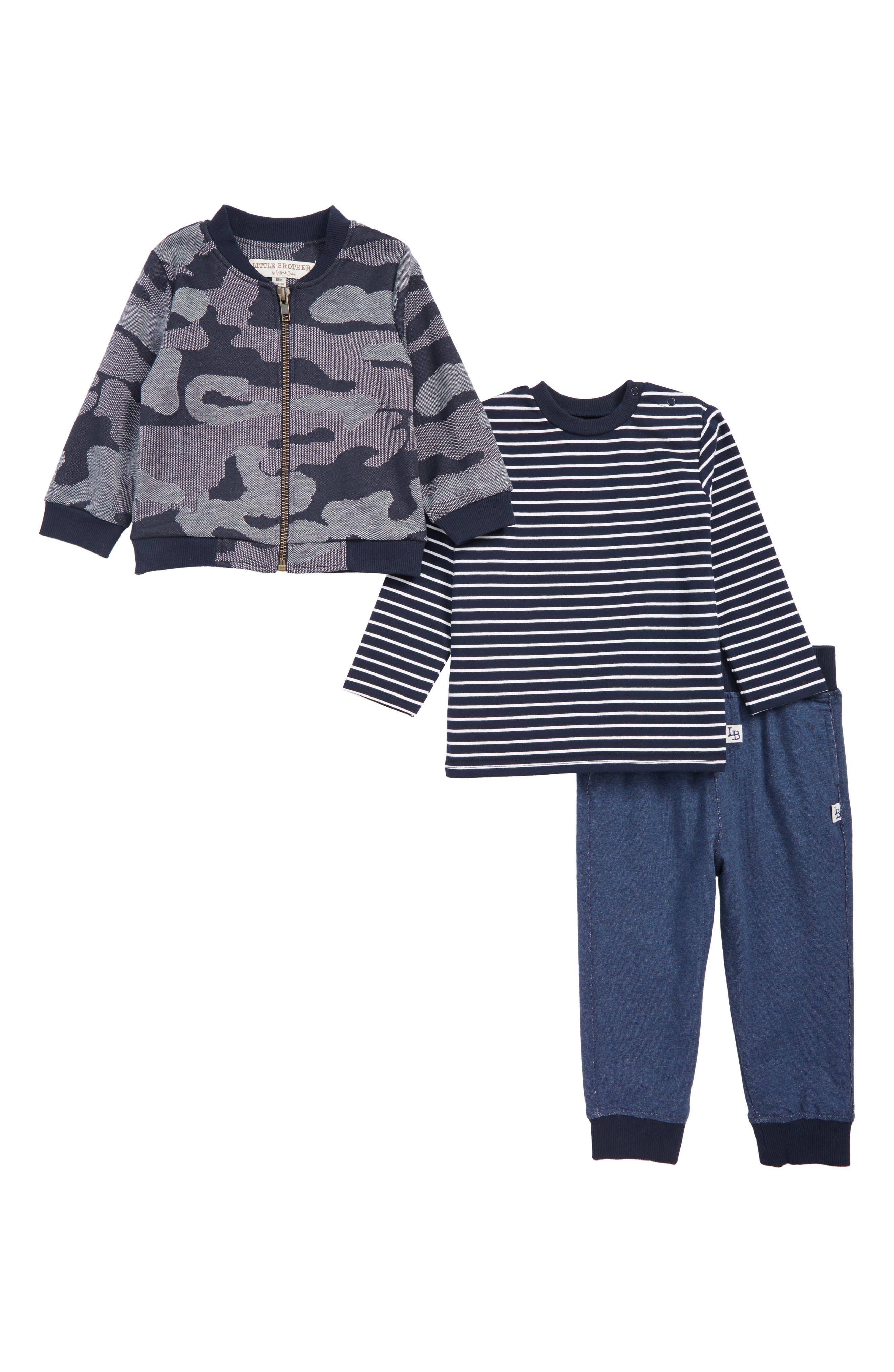 Infant Boys Little Brother By Pippa  Julie Shirt Sweatpants  Jacket Set