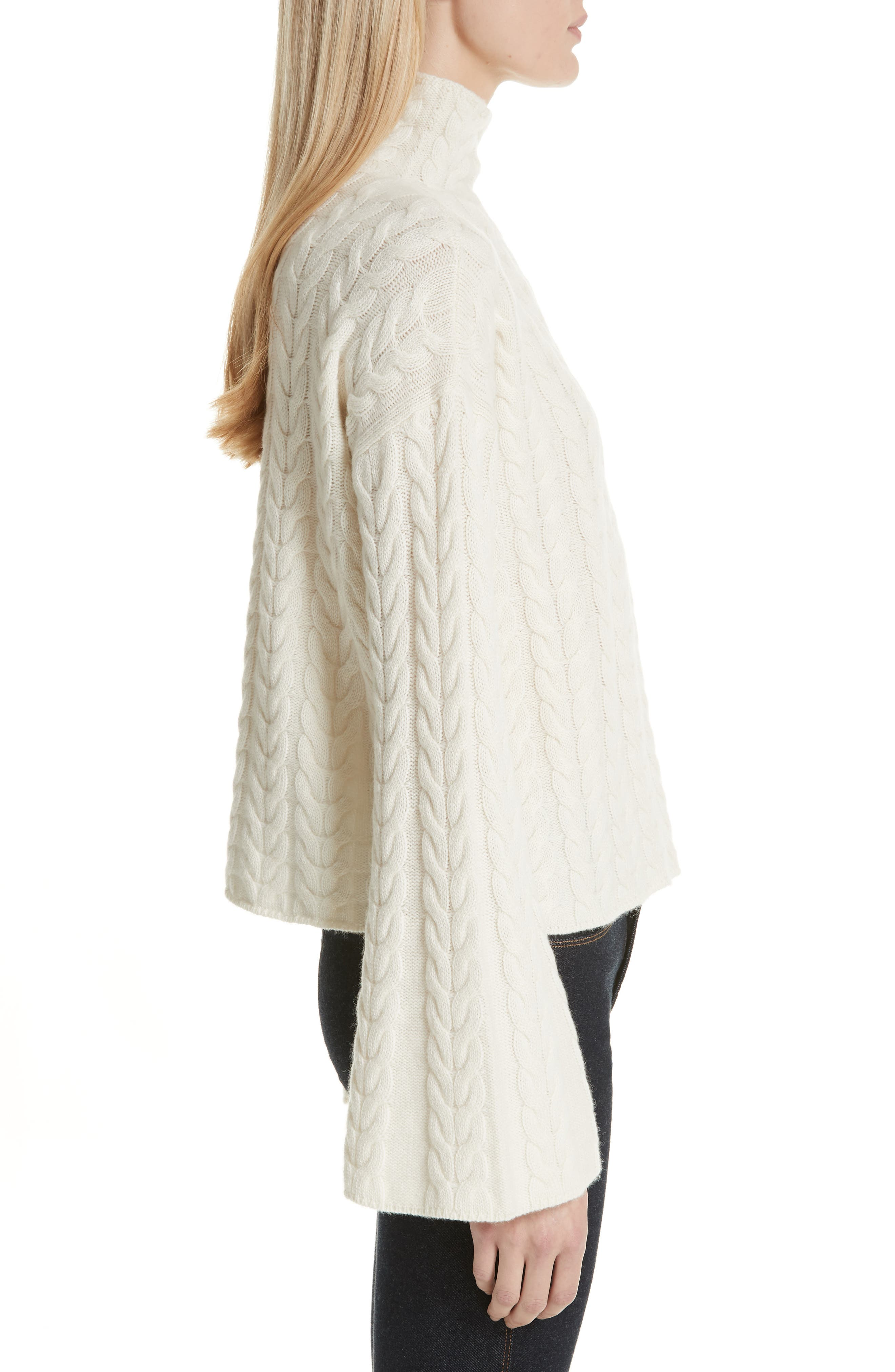 Cable Cashmere Sweater,                             Alternate thumbnail 3, color,                             IVORY/ IVORY