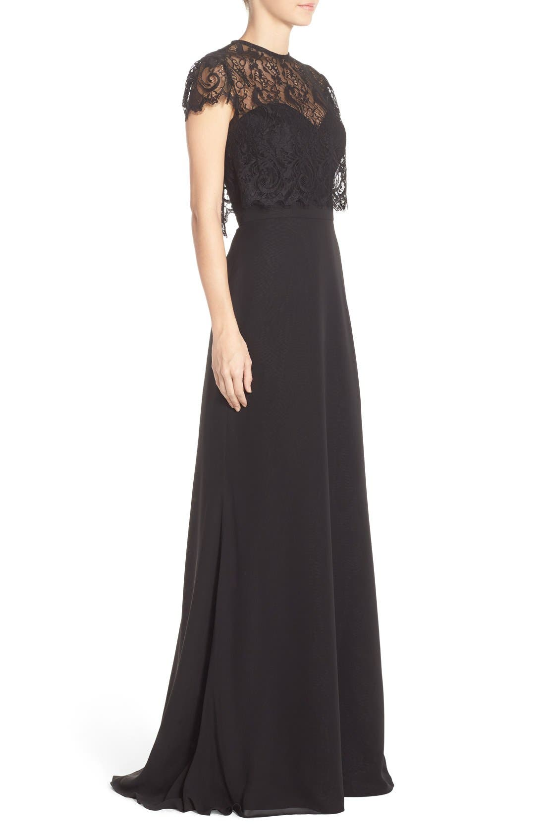 Strapless Chiffon A-Line Gown with Removable Lace Overlay,                             Alternate thumbnail 3, color,                             001