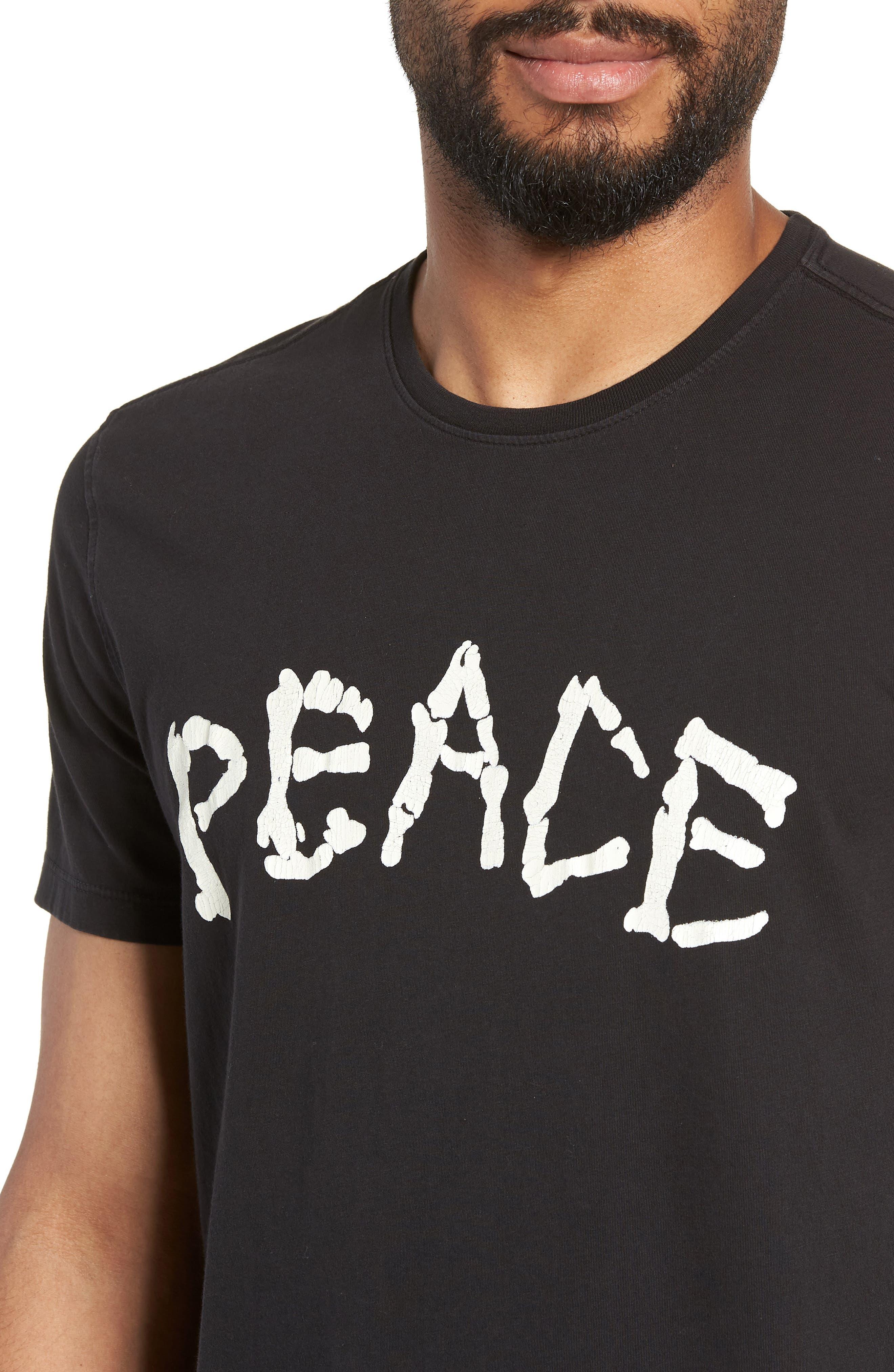 Skeleton Peace Graphic T-Shirt,                             Alternate thumbnail 4, color,                             BLACK