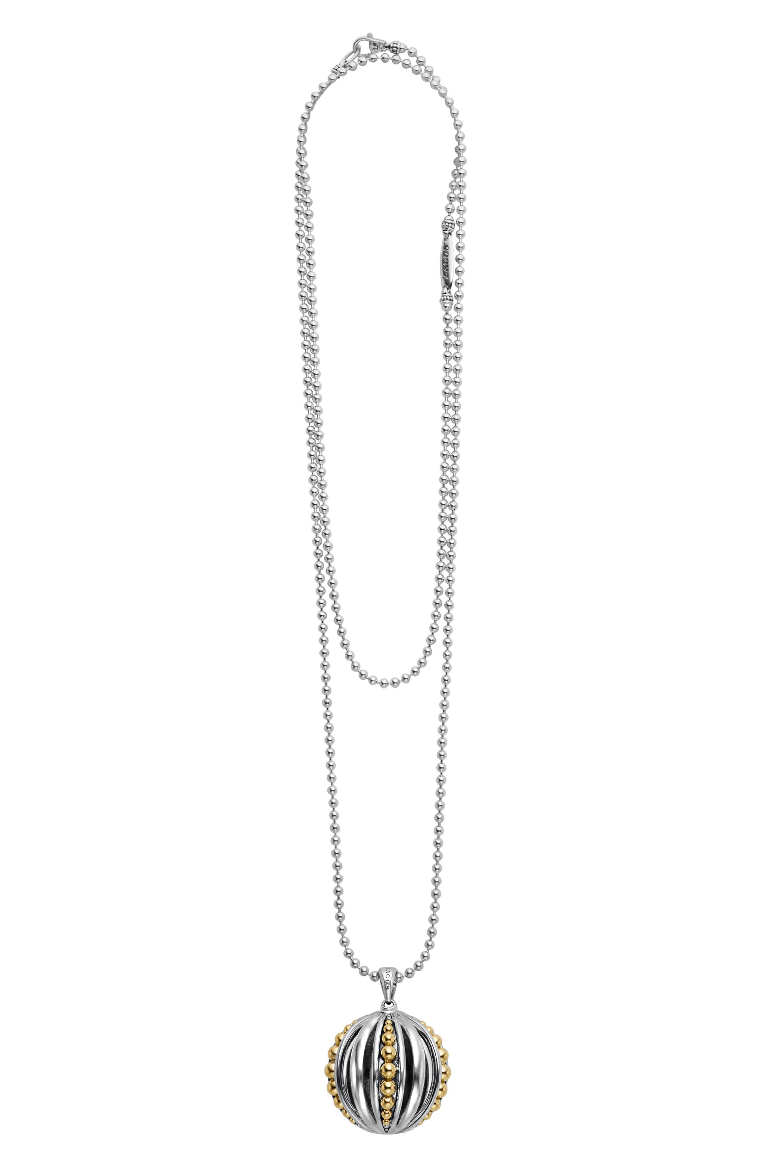 Caviar Talisman Beaded Cage Ball Pendant Necklace,                         Main,                         color, SILVER/ 18K GOLD