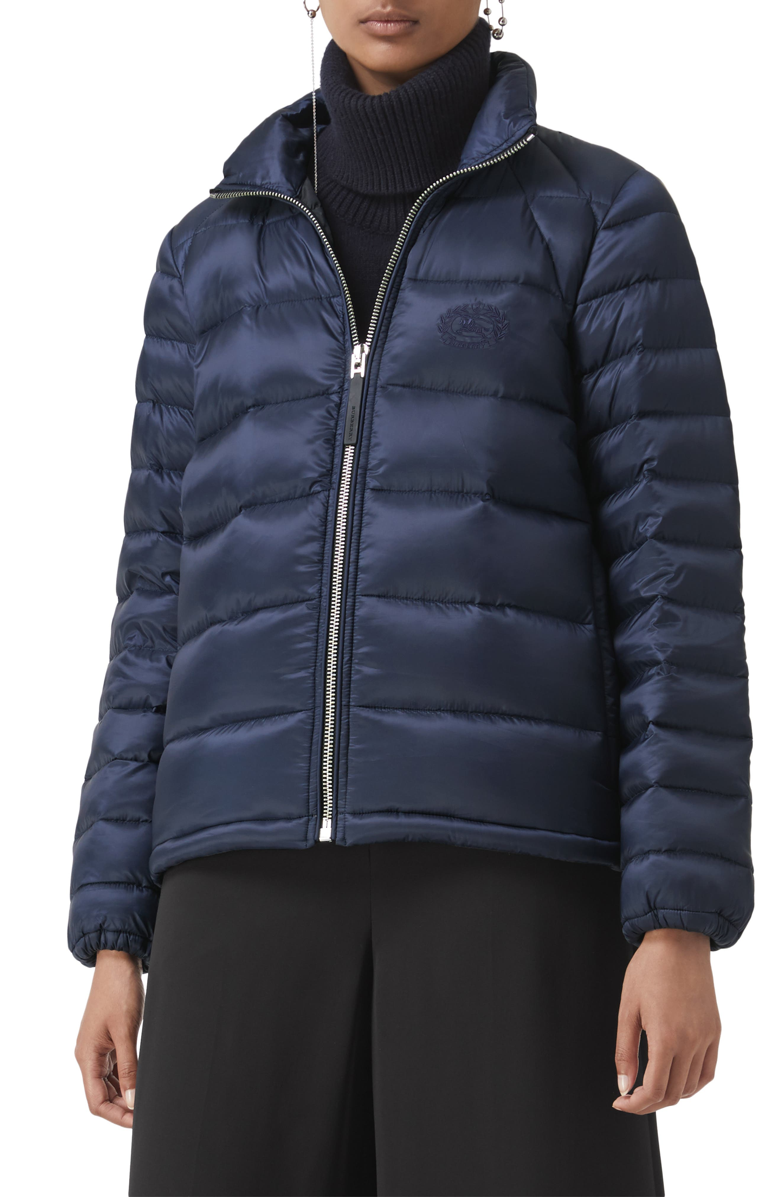 BURBERRY,                             Smethwick Archive Logo Quilted Down Puffer Coat,                             Main thumbnail 1, color,                             NAVY