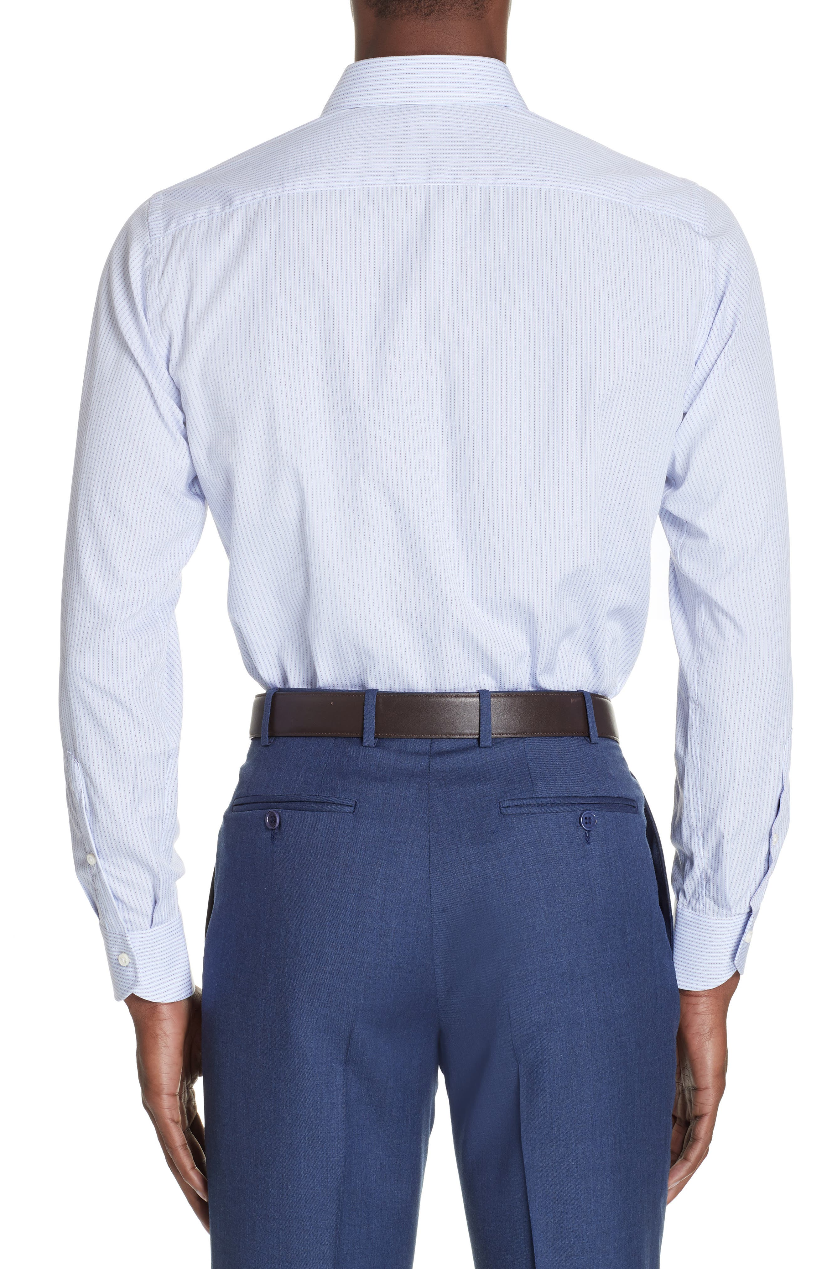 Trim Fit Stripe Dress Shirt,                             Alternate thumbnail 3, color,                             MED BLUE