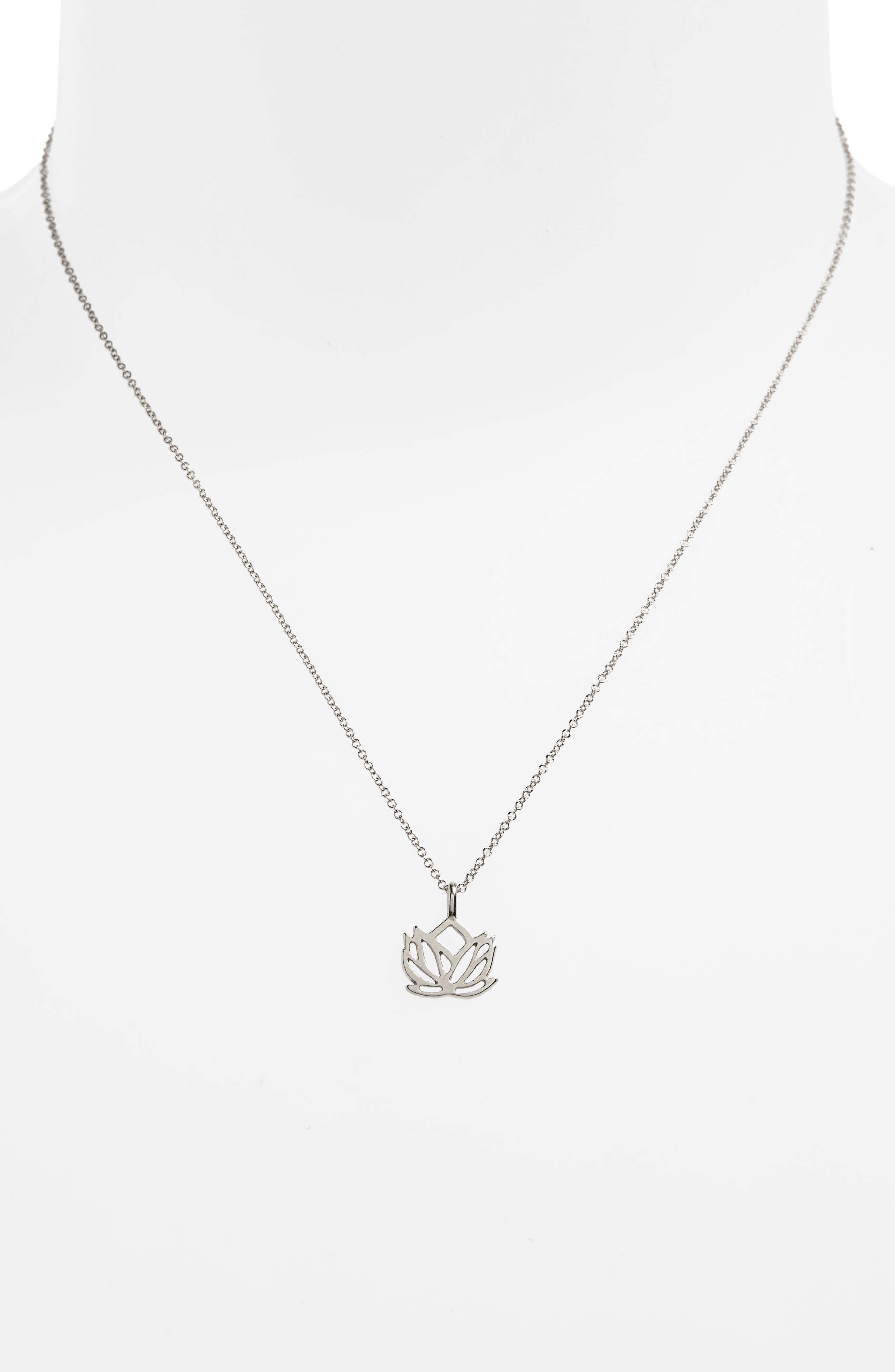 Lotus Reminder Pendant Necklace,                             Alternate thumbnail 3, color,                             042