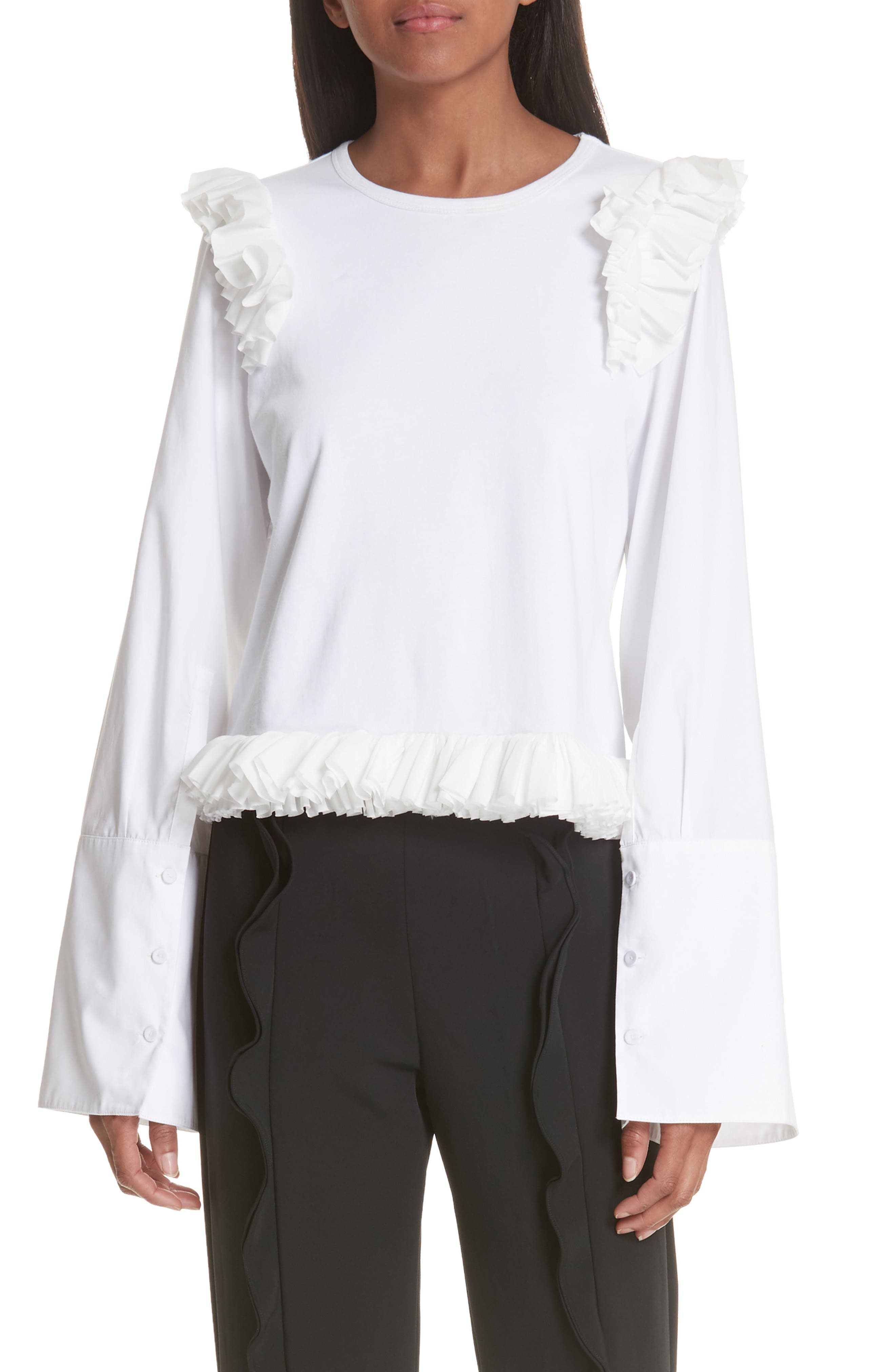 Ruffle Top,                         Main,                         color, WHITE