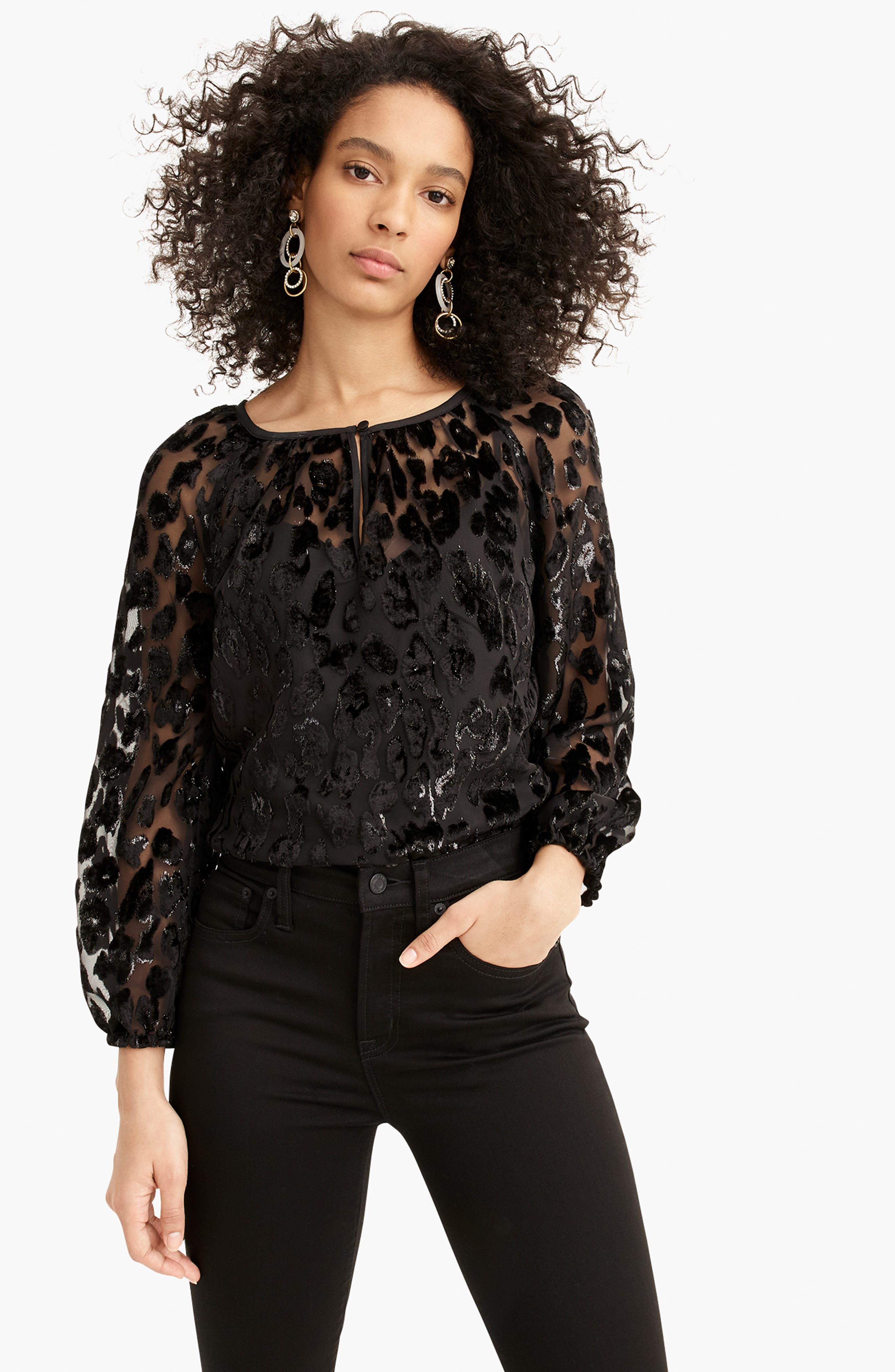 Leopard Velvet Popover Top,                             Alternate thumbnail 5, color,                             BLACK