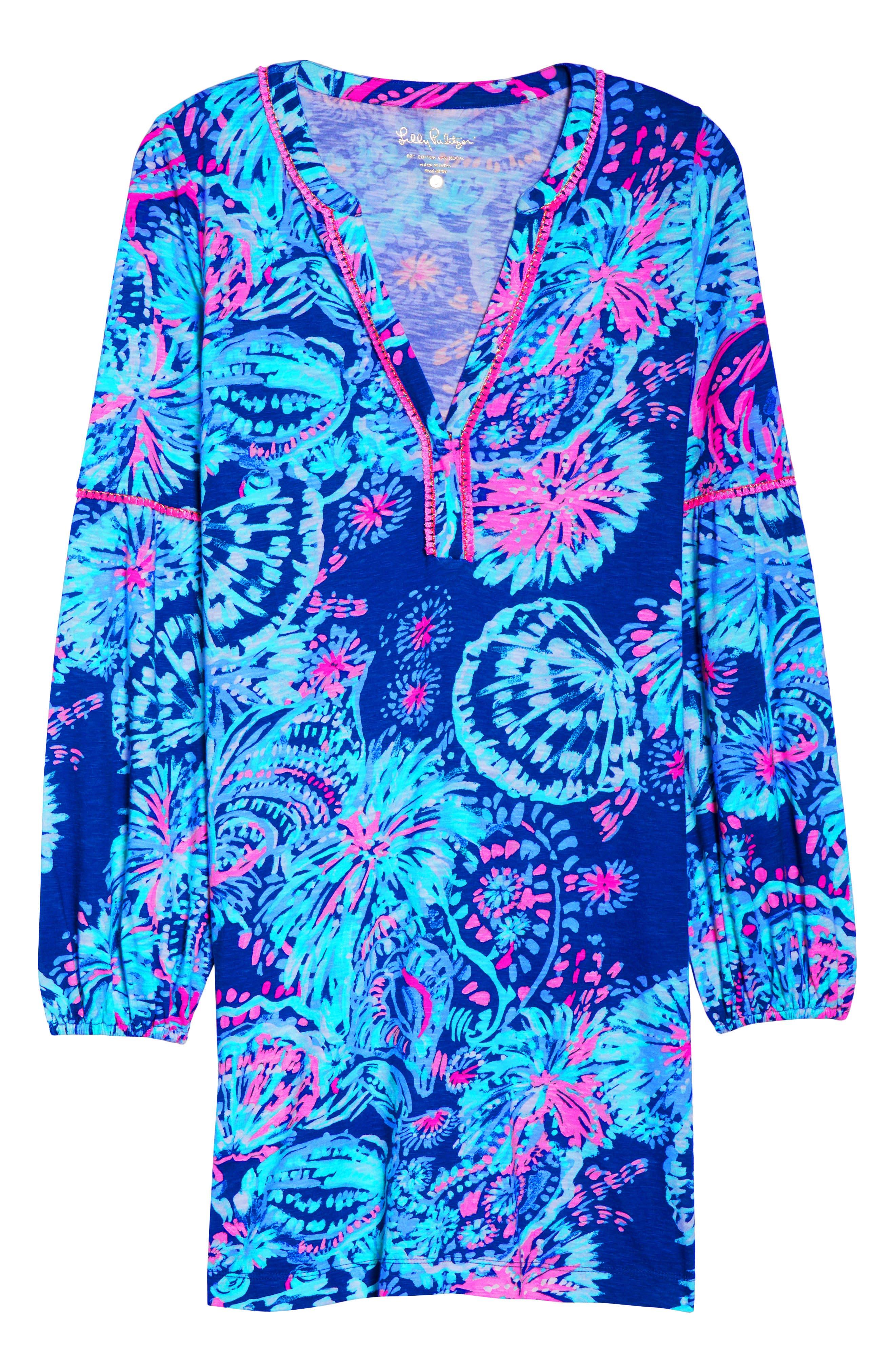 Joy Floral Print Shift Dress,                             Alternate thumbnail 7, color,                             400