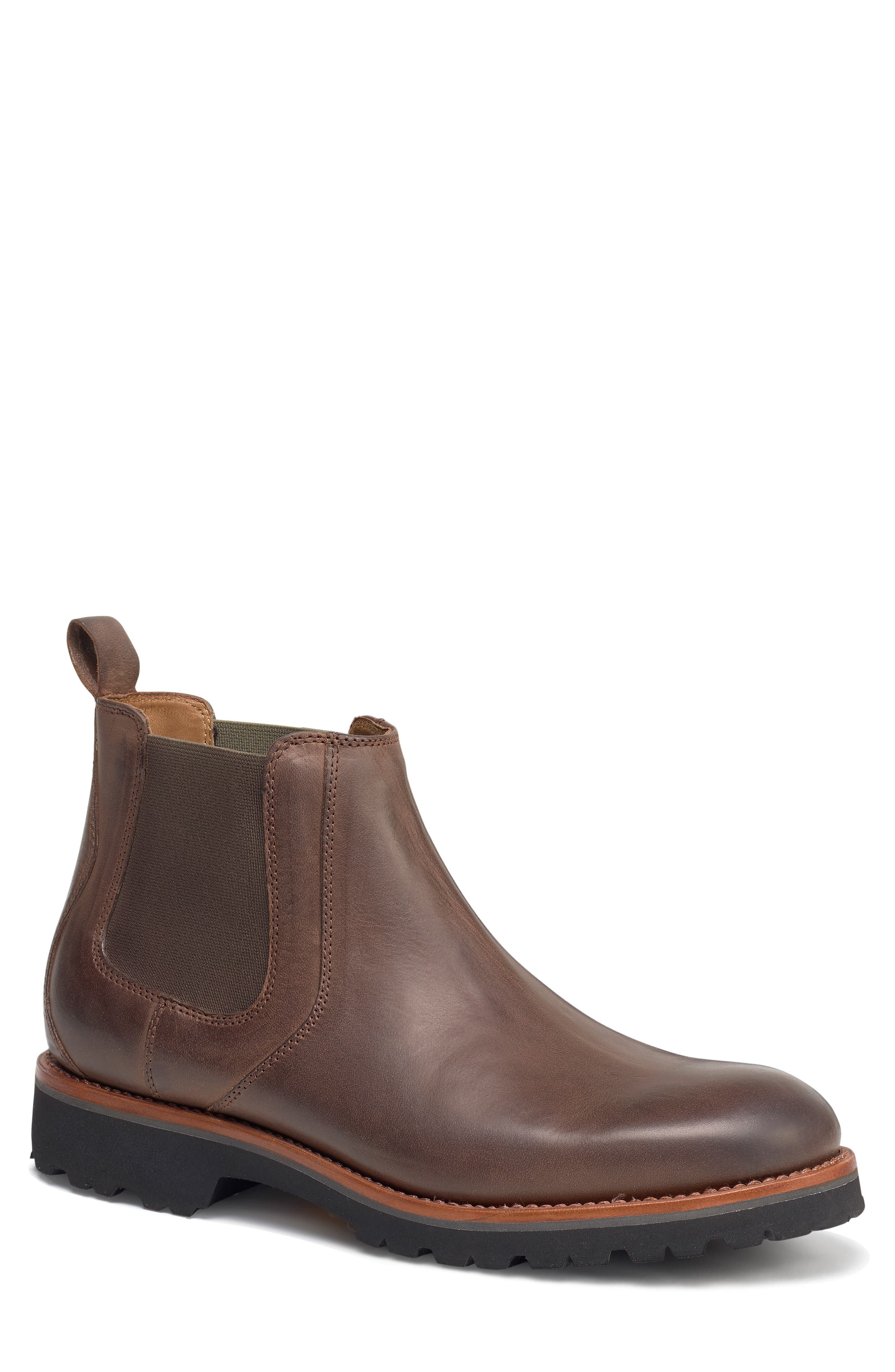 Hastings Lugged Chelsea Boot,                             Main thumbnail 1, color,                             BROWN LEATHER