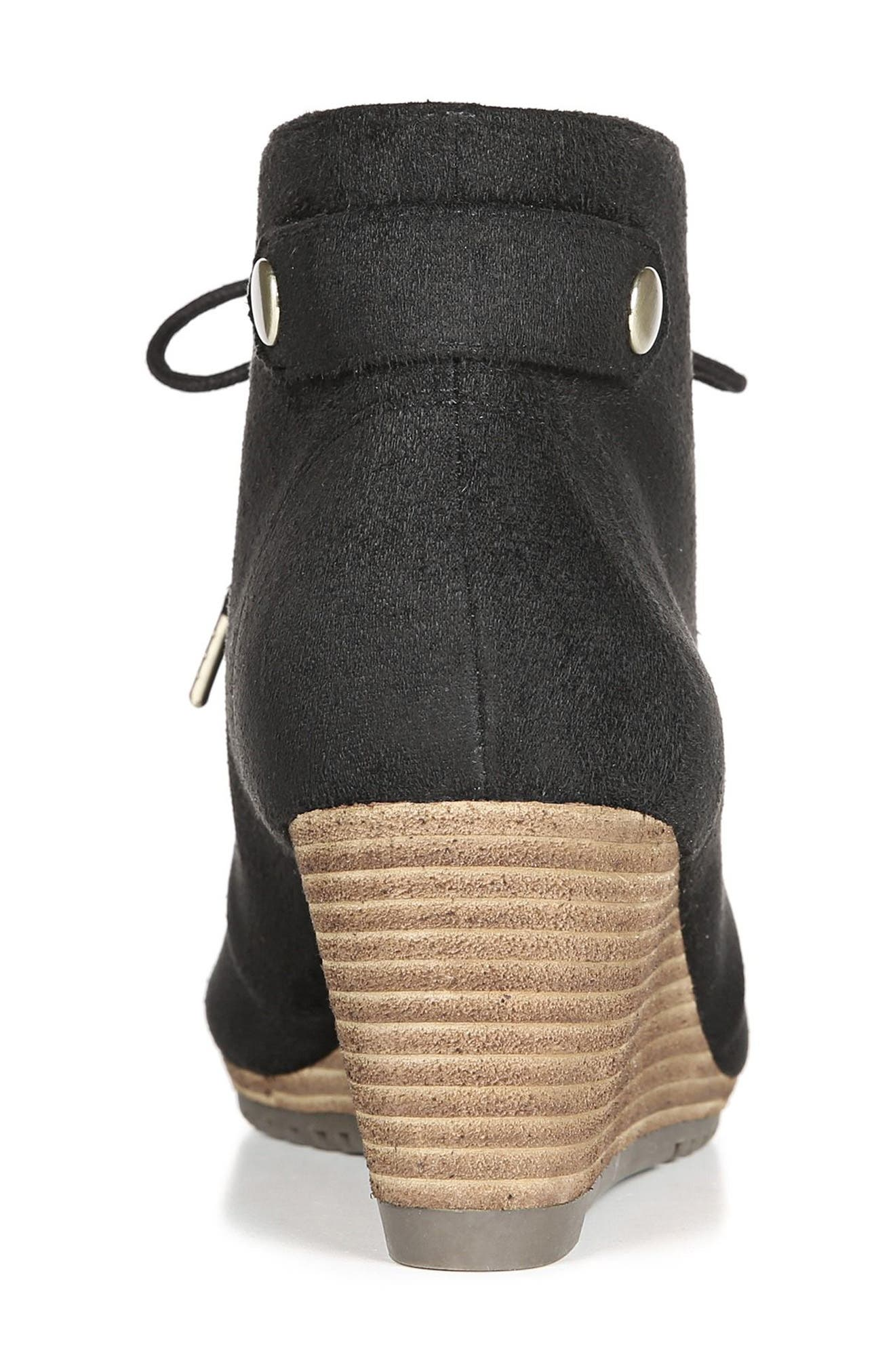 Conquer Wedge Bootie,                             Alternate thumbnail 6, color,                             BLACK FABRIC