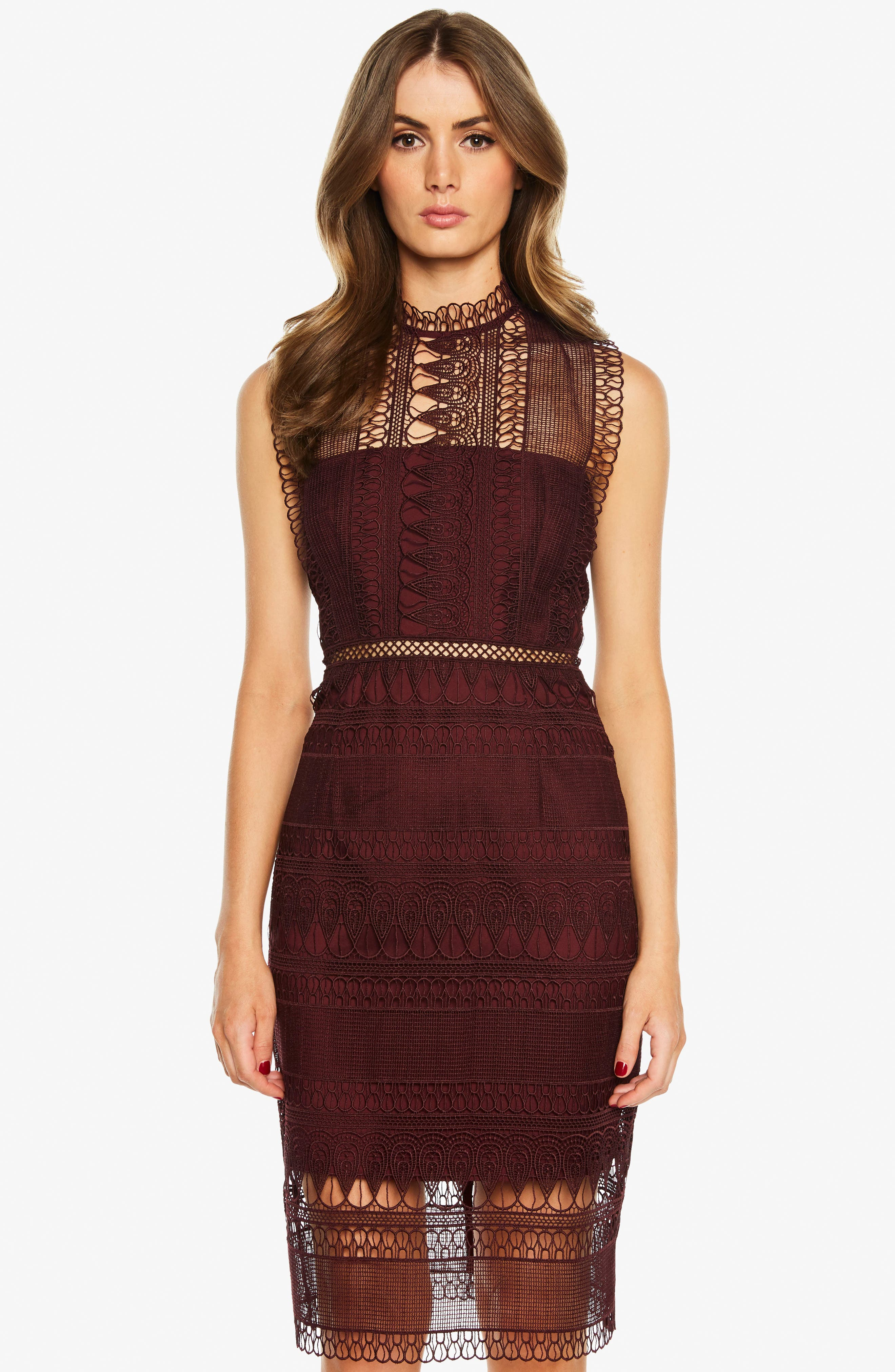 Mariana Lace Body-Con Dress,                             Alternate thumbnail 4, color,                             BURGUNDY
