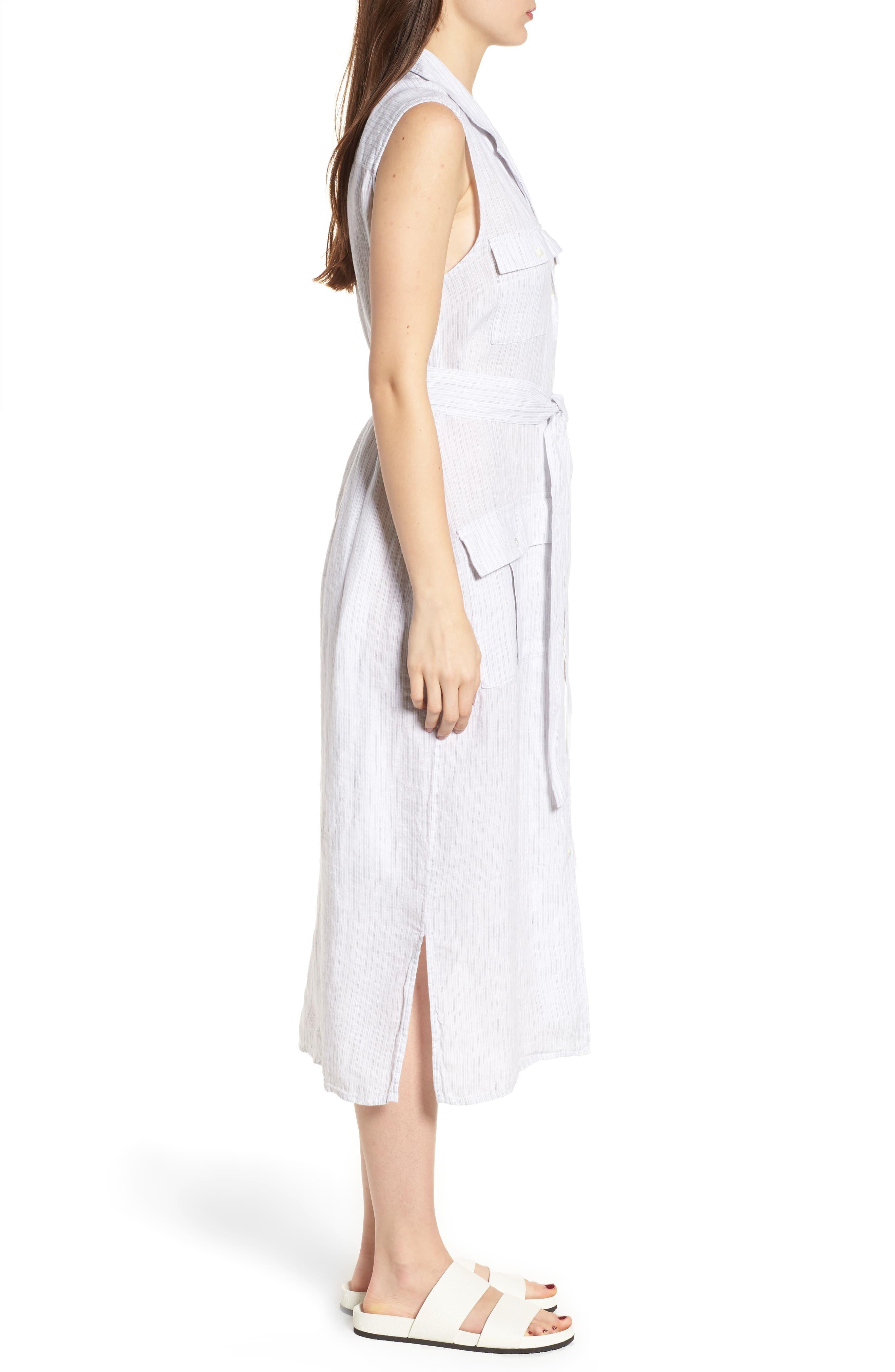 Stripe Linen Shirtdress,                             Alternate thumbnail 3, color,                             053