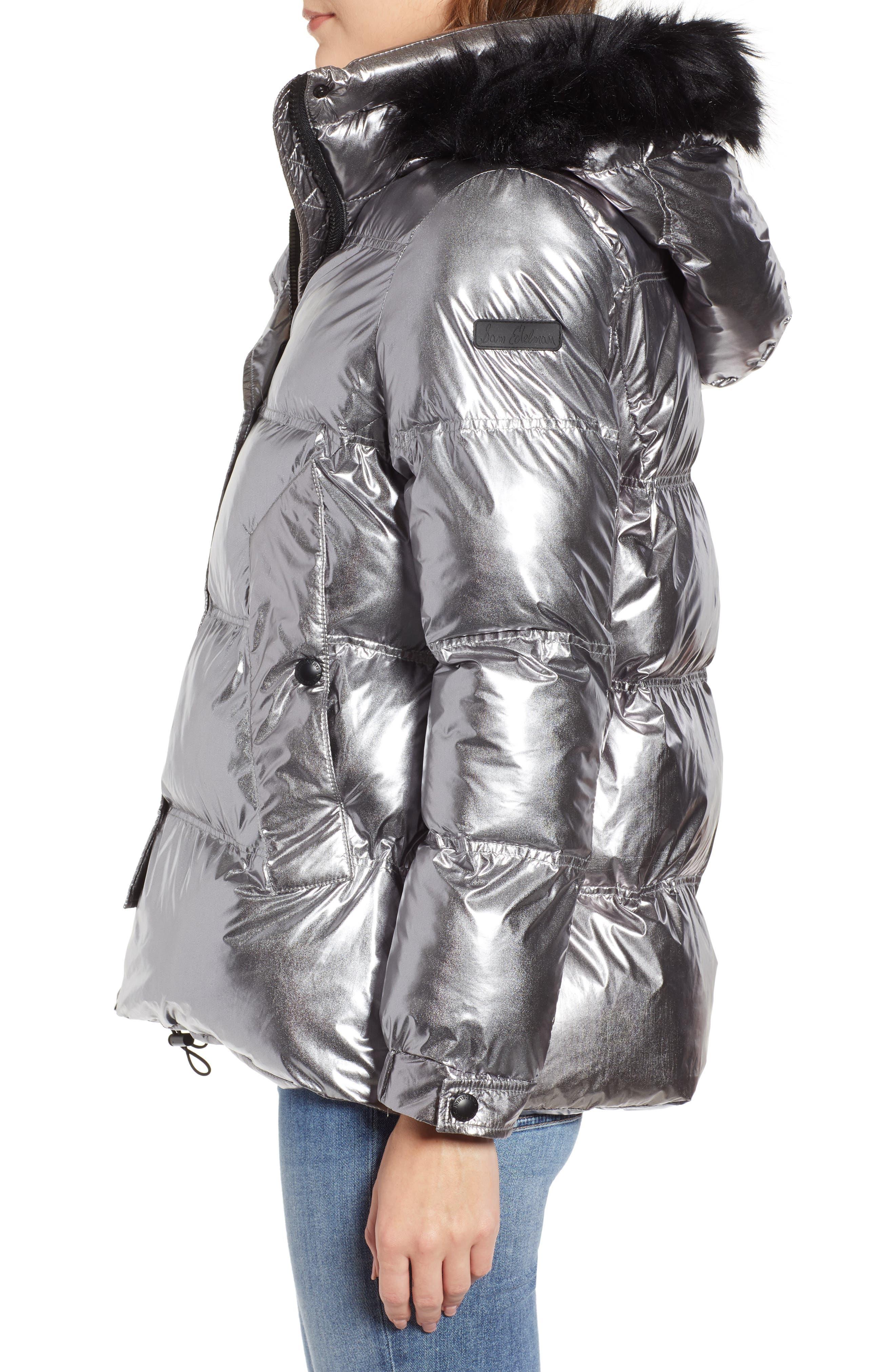 Faux Fur Trim Hooded Puffer Coat,                             Alternate thumbnail 3, color,                             GUNMETAL