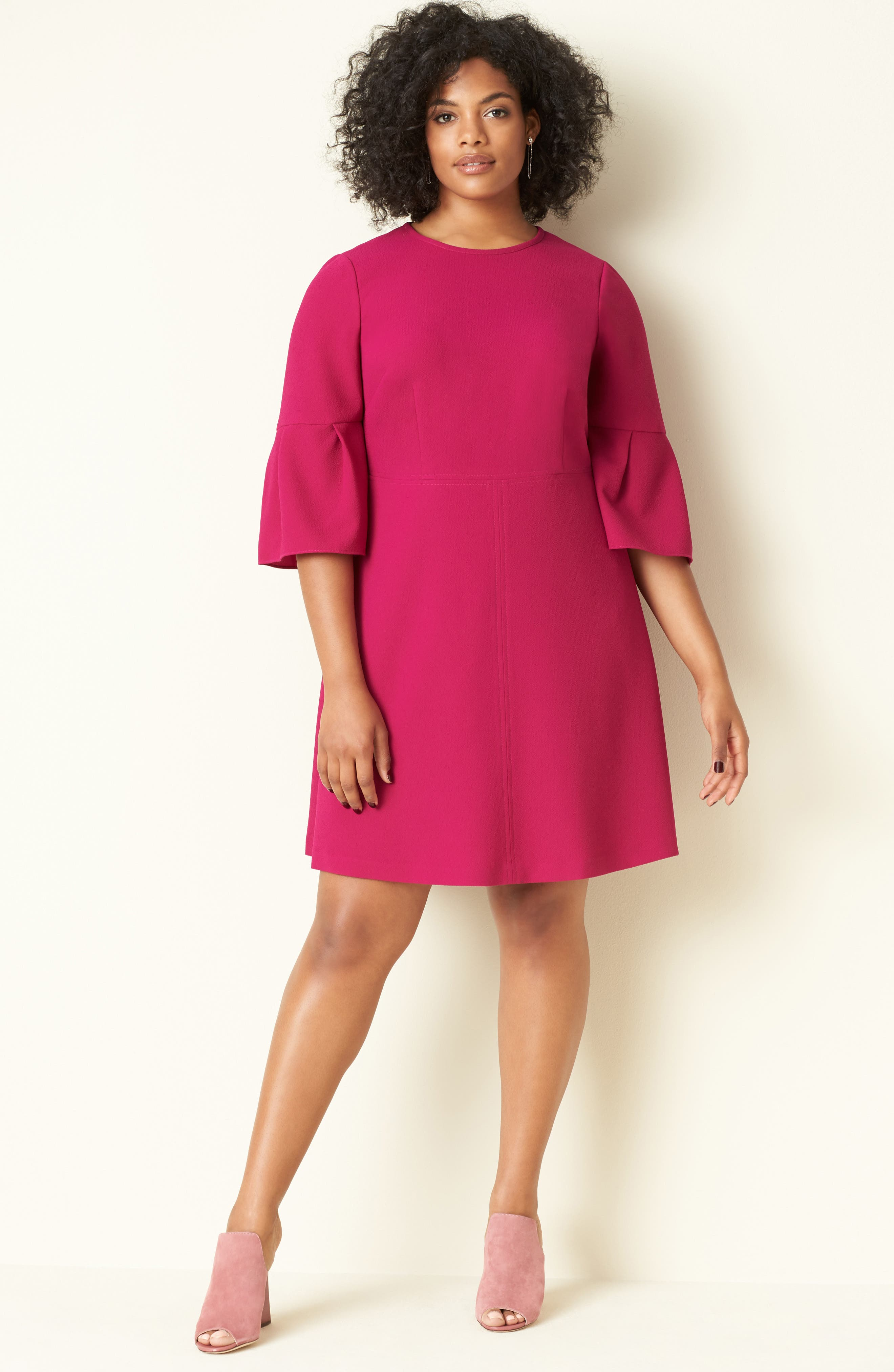 Bell Sleeve Fit & Flare Dress,                             Alternate thumbnail 8, color,                             678