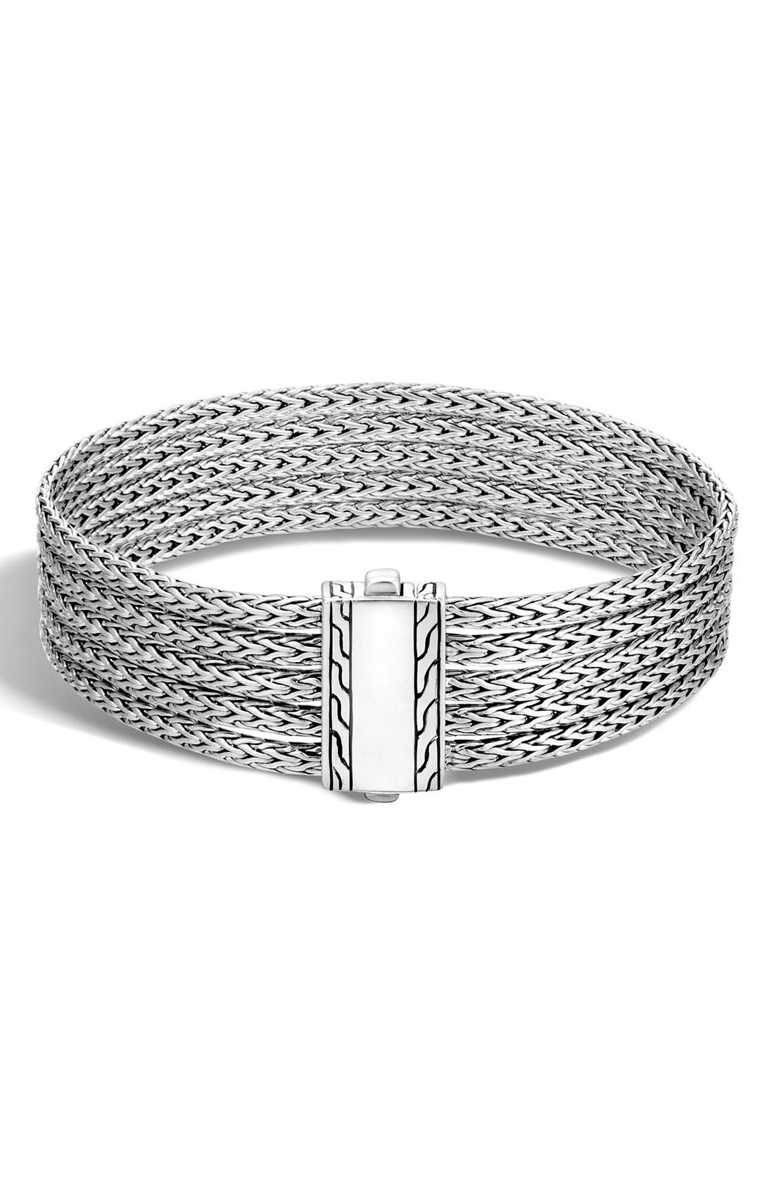 'Classic Chain' Five Row Bracelet,                             Main thumbnail 1, color,                             SILVER