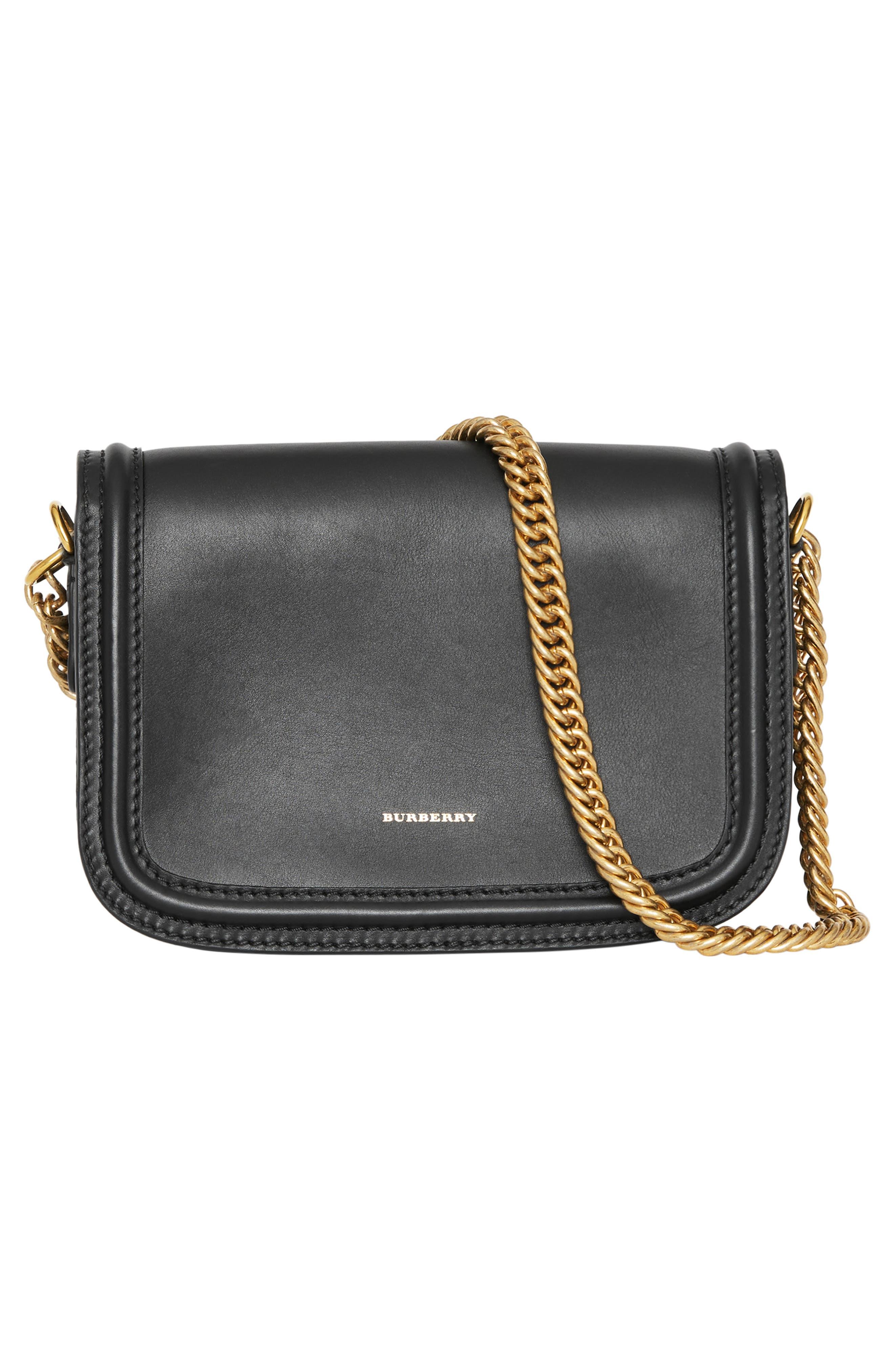 Link Flap Leather Crossbody Bag,                             Alternate thumbnail 3, color,                             BLACK
