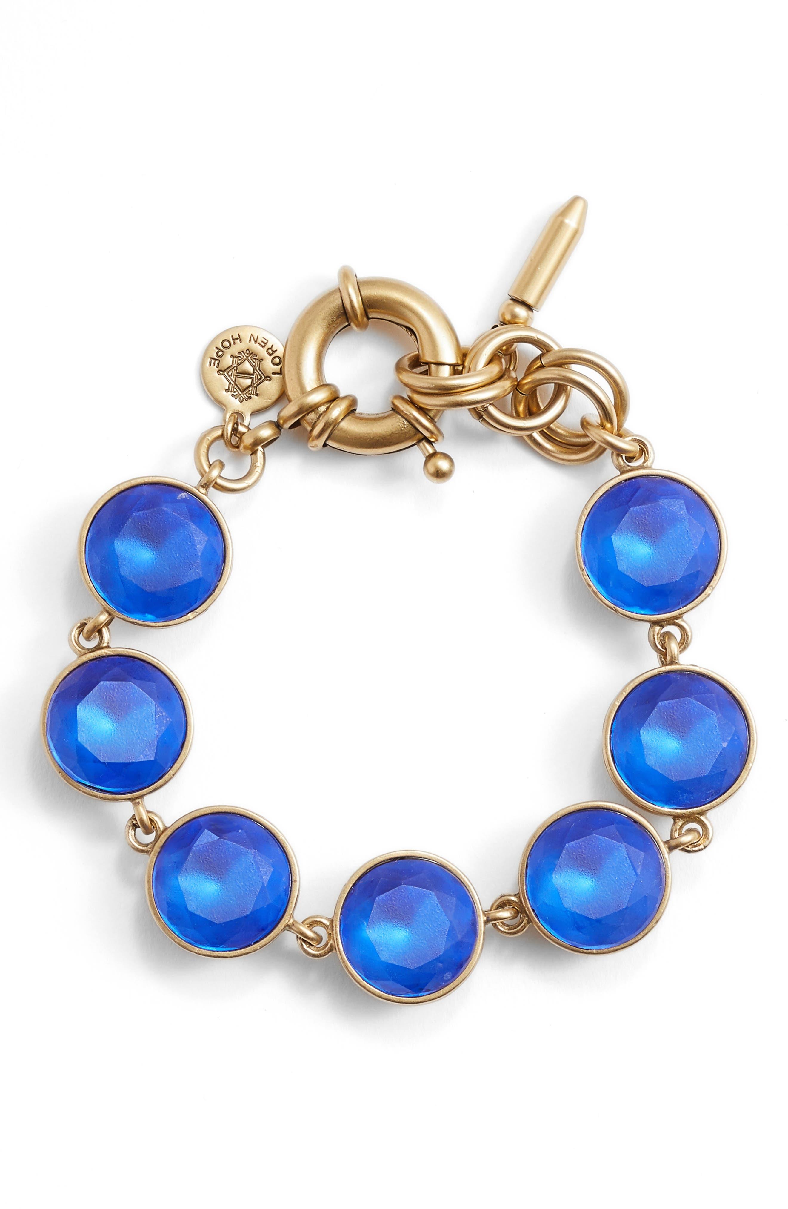 Cecelia Crystal Bracelet,                             Main thumbnail 1, color,                             SAPPHIRE