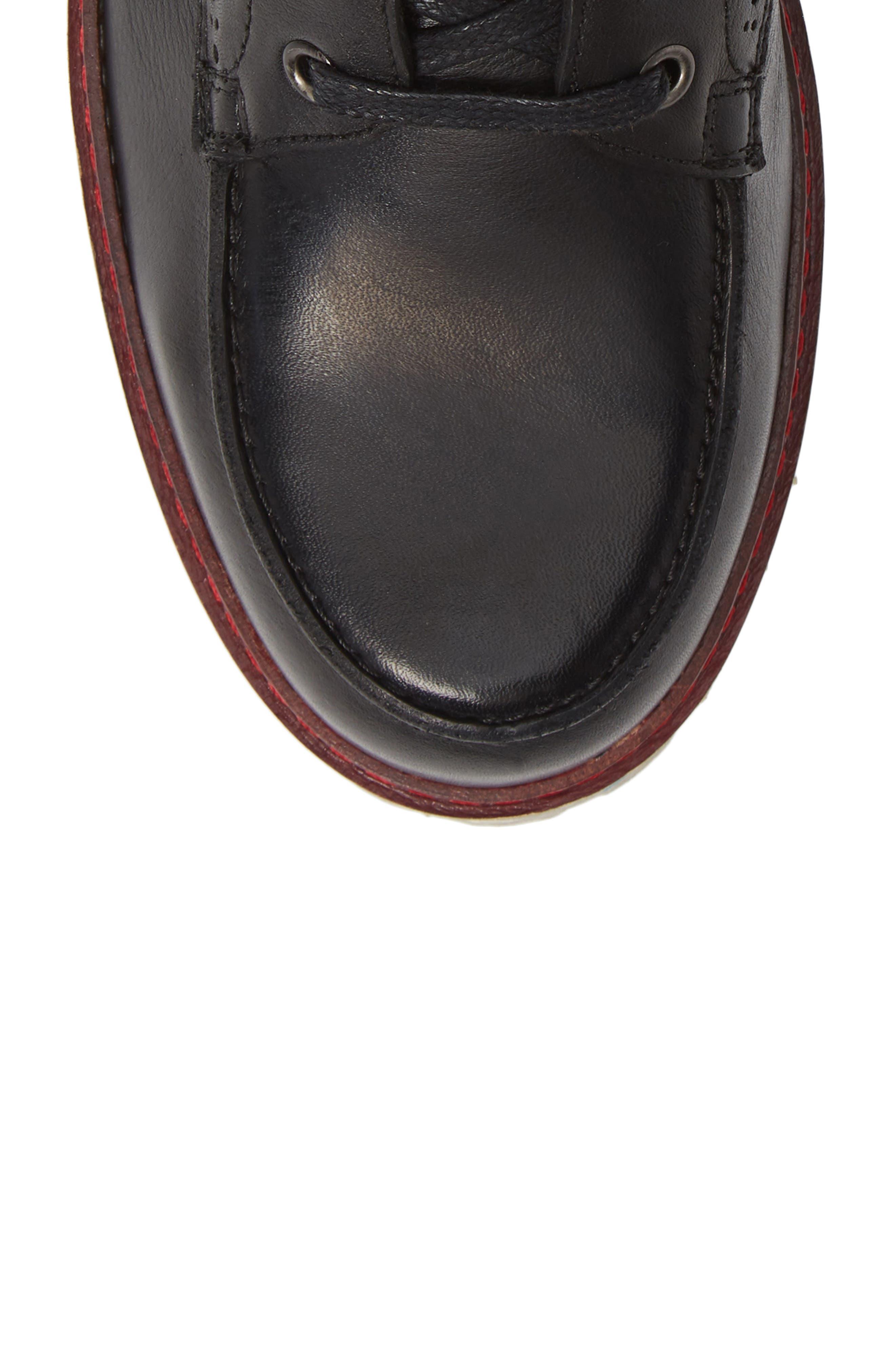 Larz Lugged Moc Toe Boot,                             Alternate thumbnail 5, color,                             BLACK