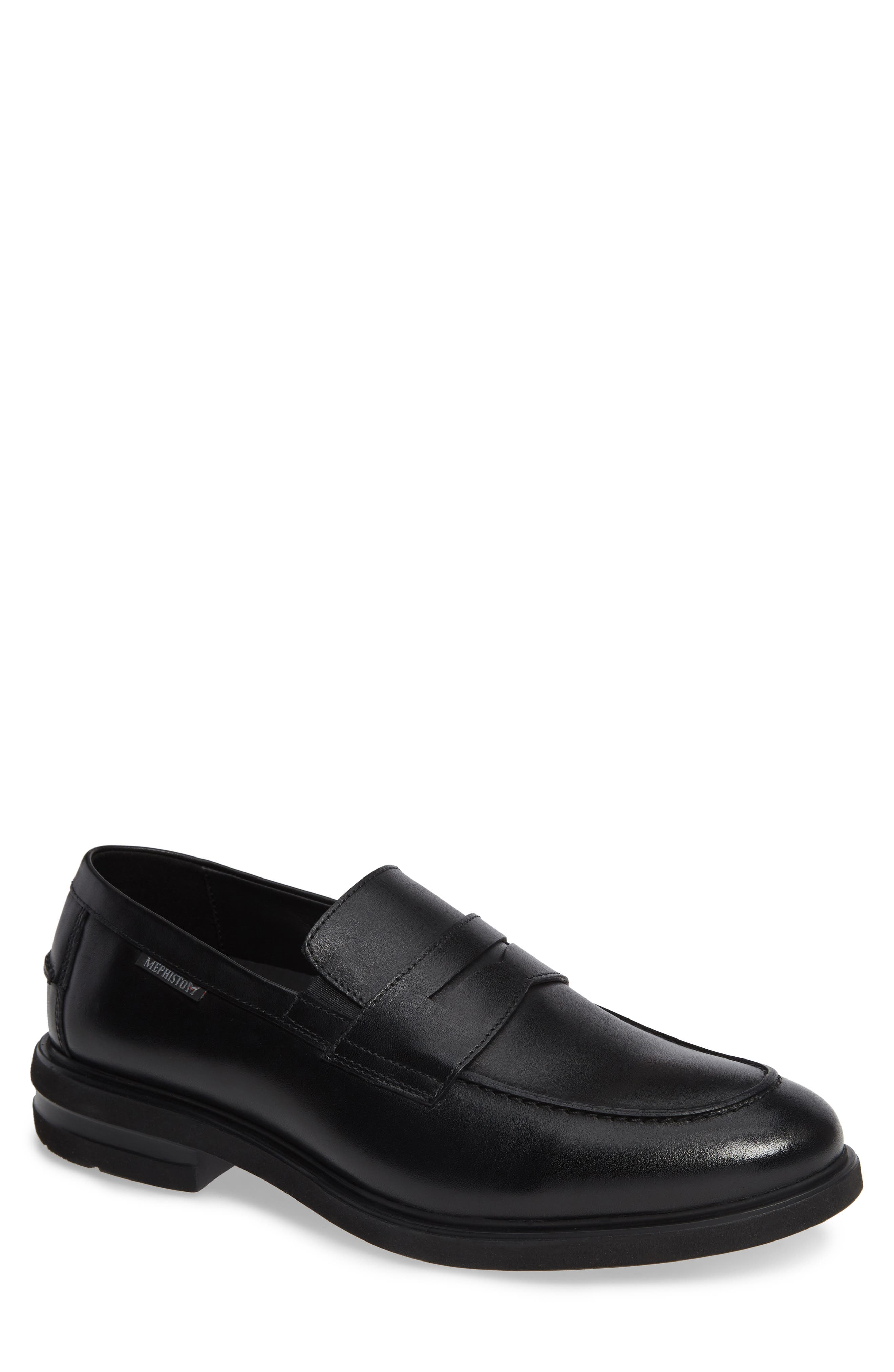 Orelien Penny Loafer,                             Main thumbnail 1, color,                             BLACK LEATHER