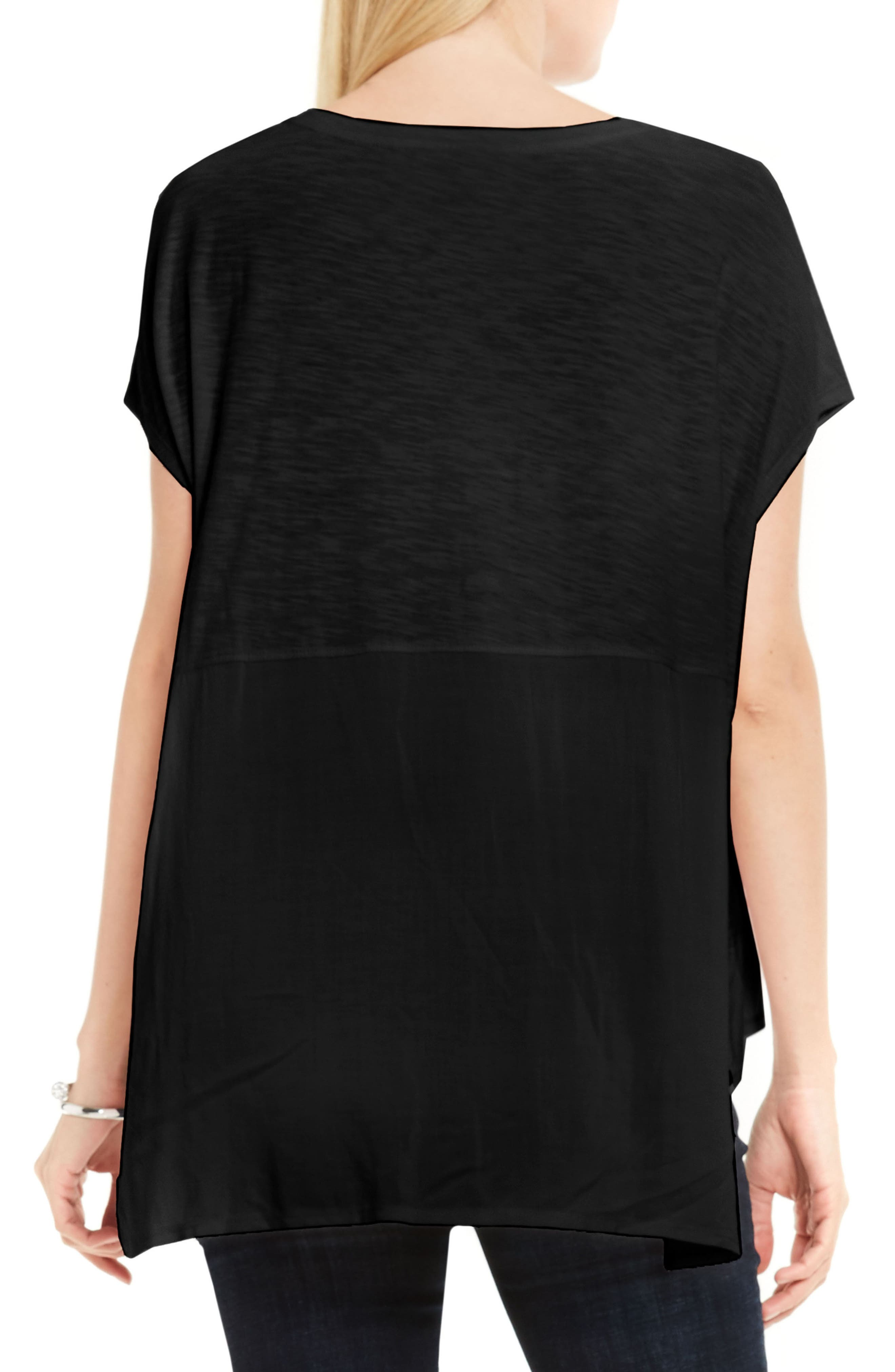 Two by Vince Camuto Chiffon High/Low Hem Knit Tee,                             Alternate thumbnail 2, color,                             006