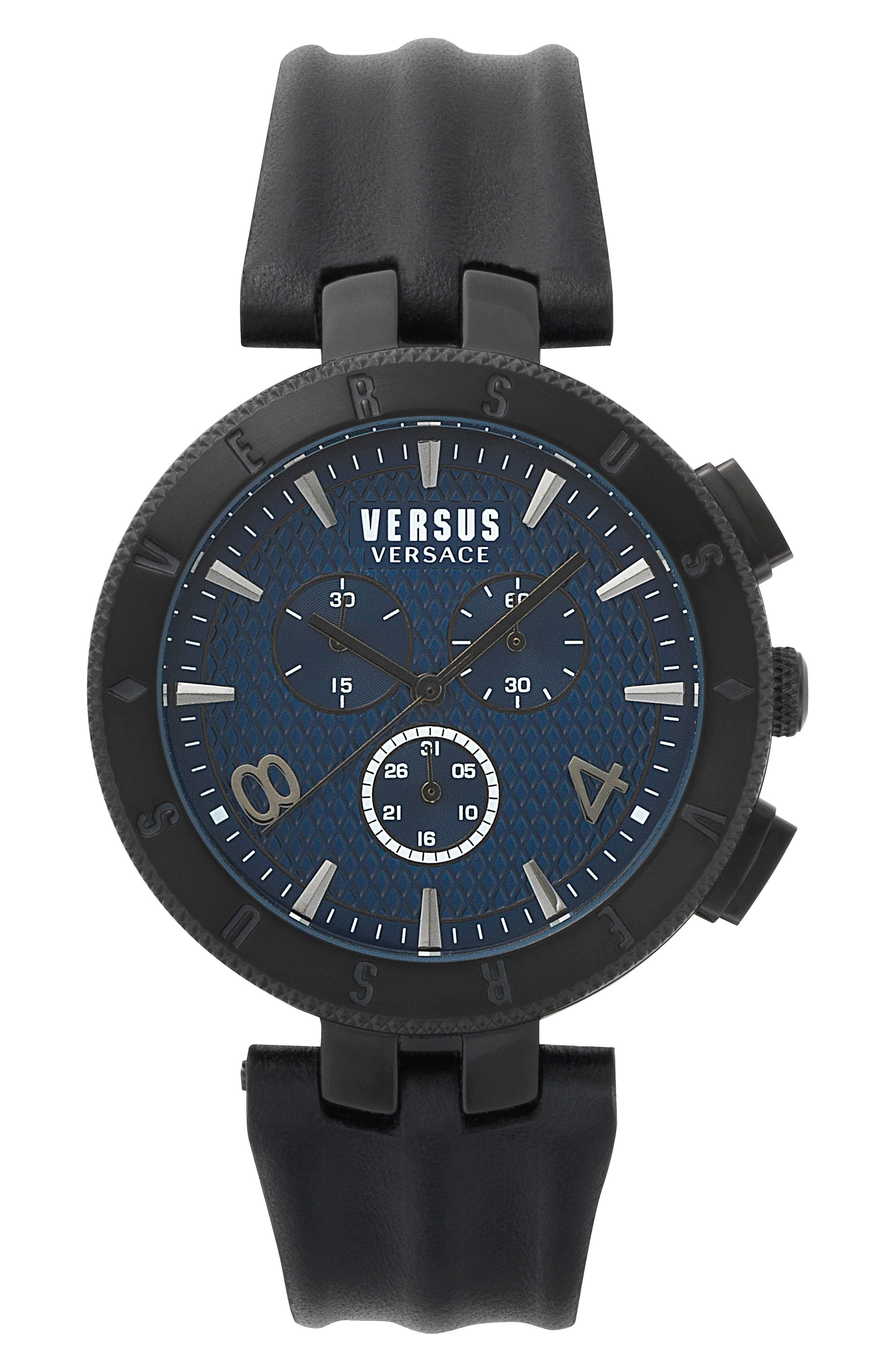 Versus by Versace Logo Chronograph Leather Strap Watch, 44mm,                             Main thumbnail 2, color,