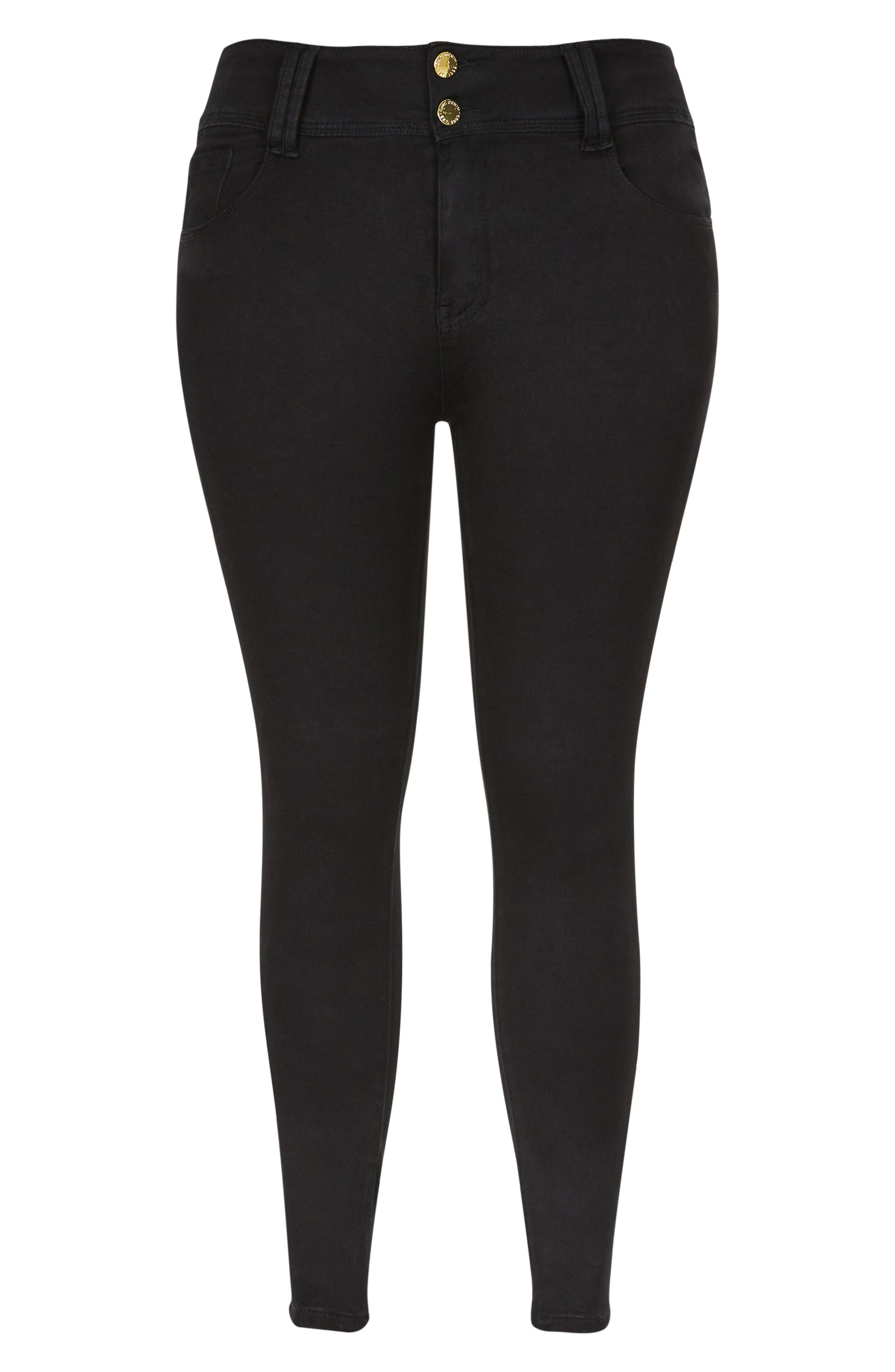 Asha Ankle Skinny Jeans,                             Alternate thumbnail 3, color,                             BLACK