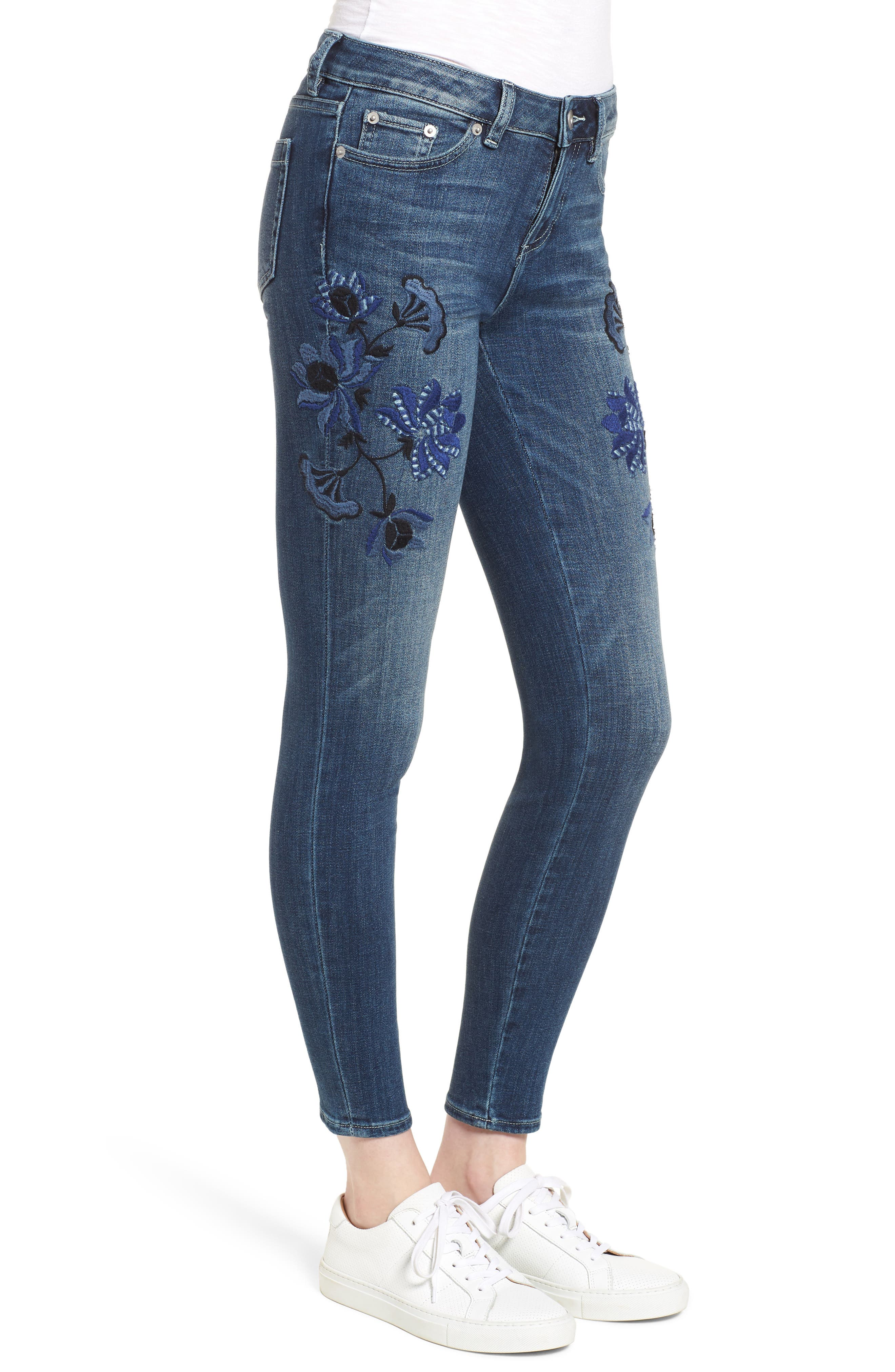 Floral Embroidered Skinny Jeans,                             Alternate thumbnail 3, color,                             464