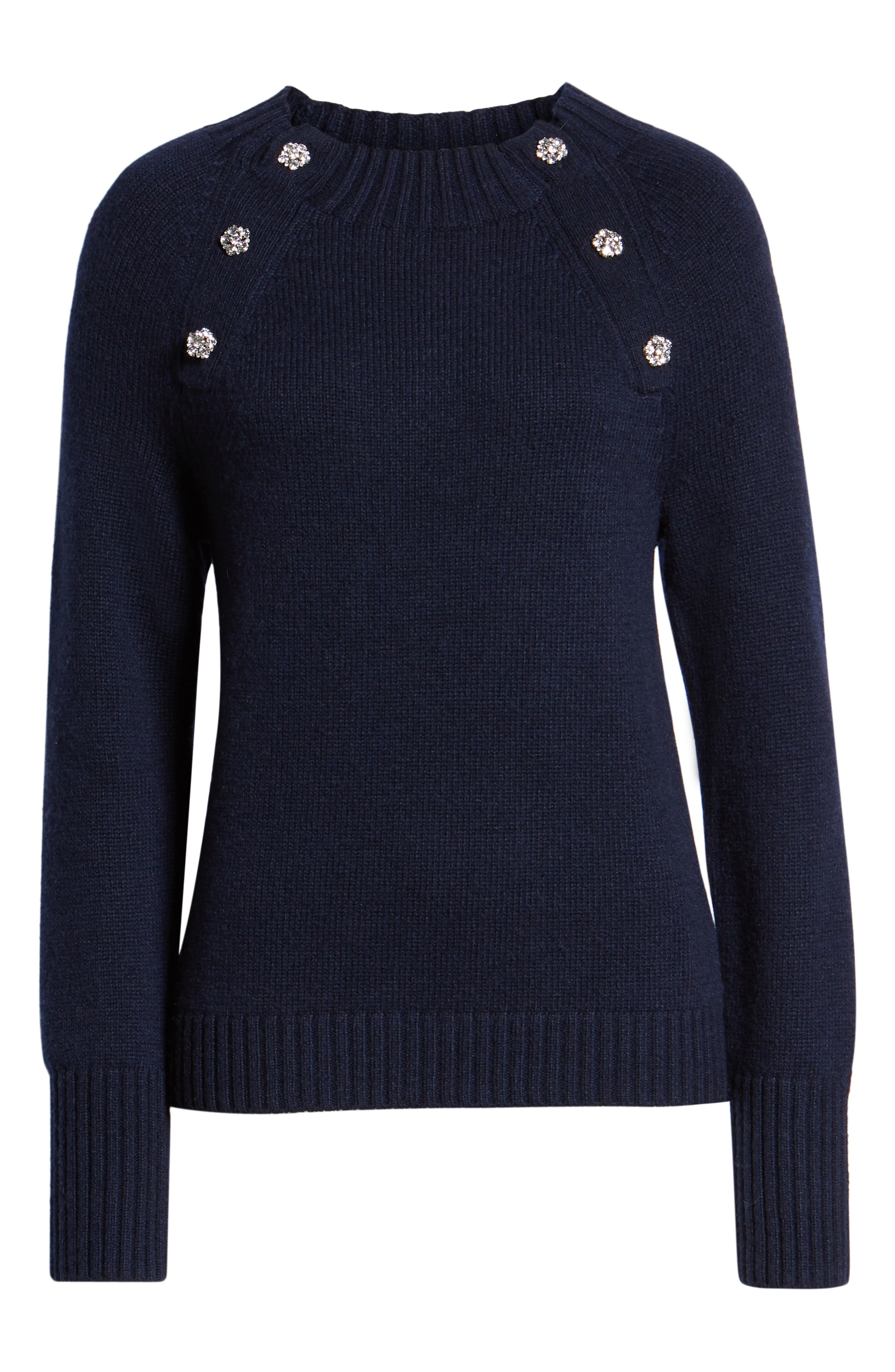 Sweater with Jeweled Buttons,                             Alternate thumbnail 6, color,                             NAVY