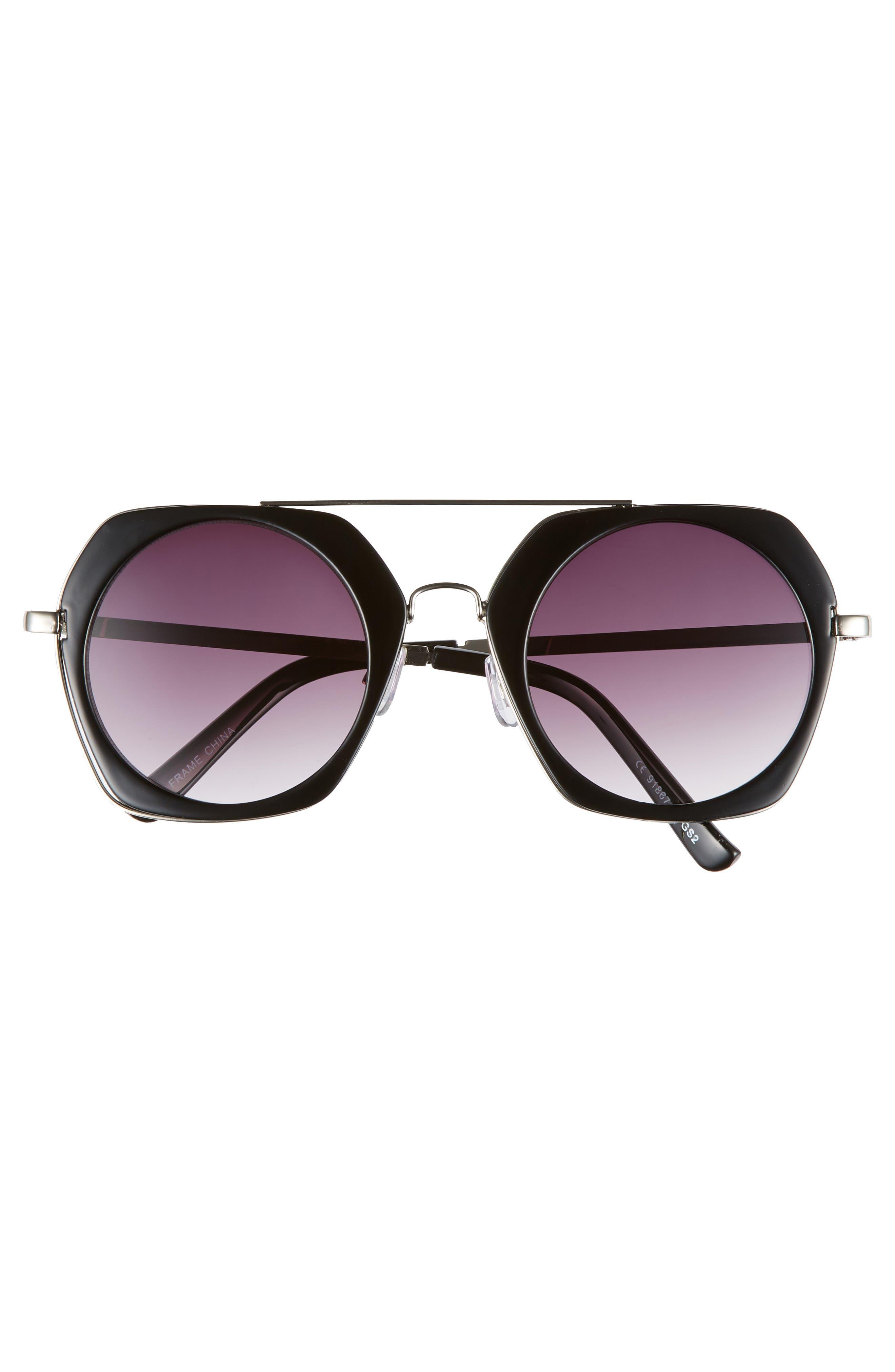 50mm Geometric Aviator Sunglasses,                             Alternate thumbnail 3, color,                             BLACK