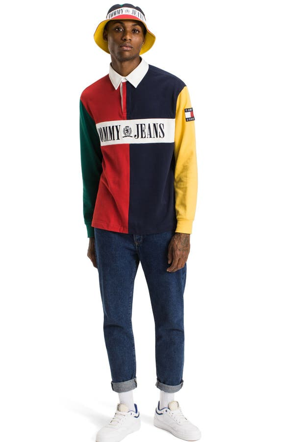 b7977a1701b Tommy Jeans 90s Color Block Rugby Shirt - Rugs Ideas