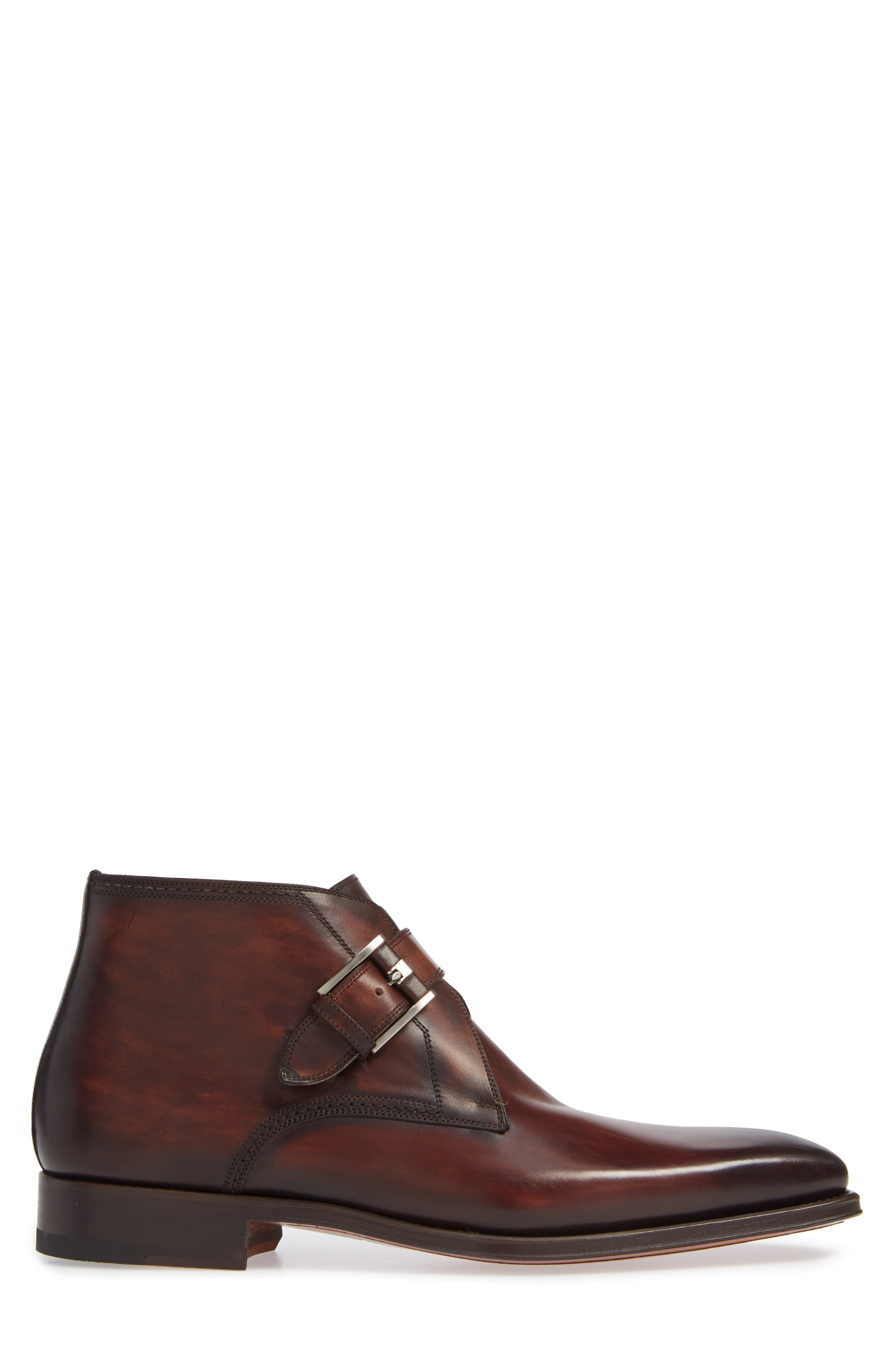 MAGNANNI,                             Luka Monk Strap Boot,                             Alternate thumbnail 3, color,                             MID BROWN LEATHER