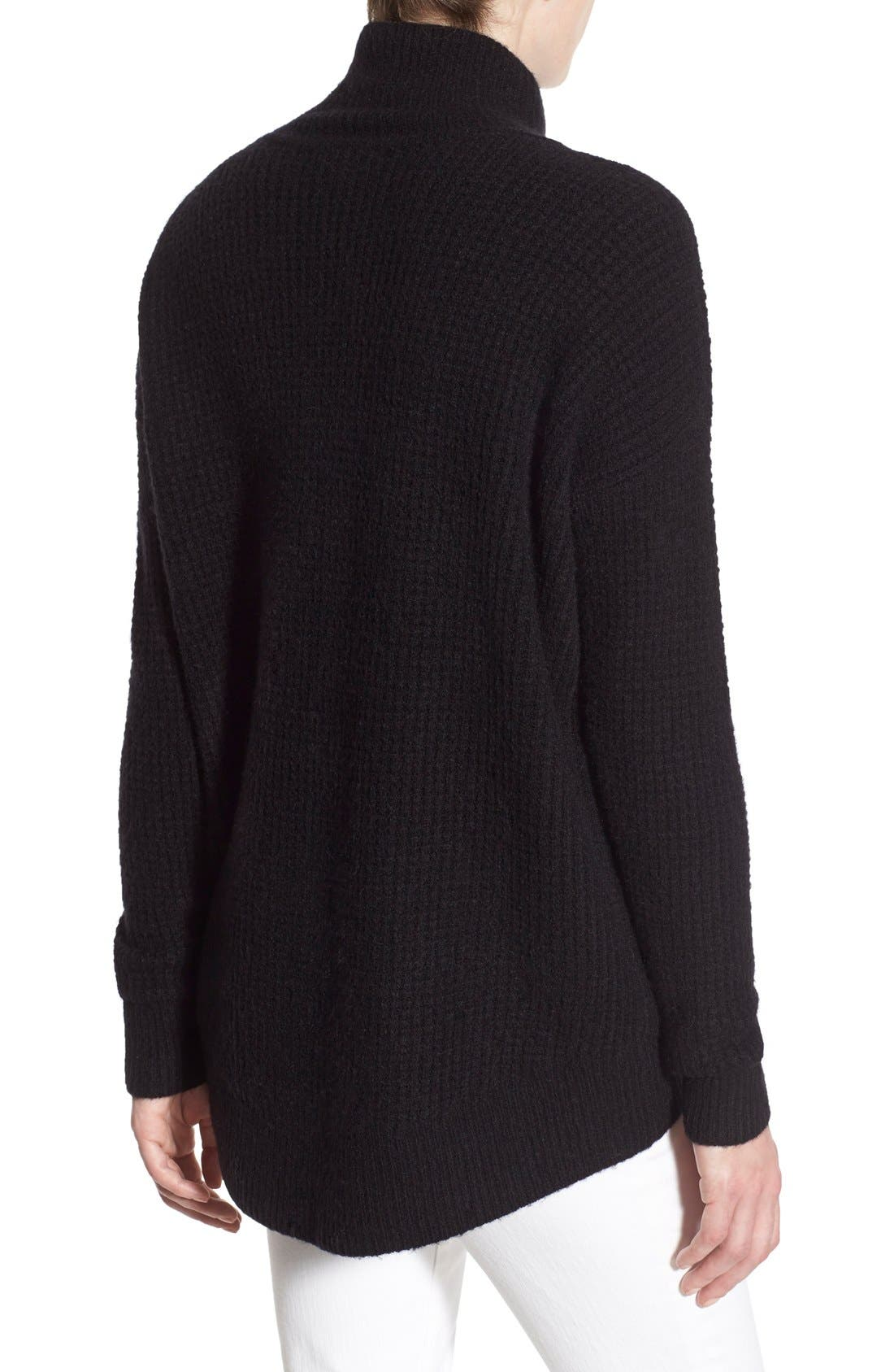 Wafflestitch Turtleneck Sweater,                             Alternate thumbnail 3, color,                             001
