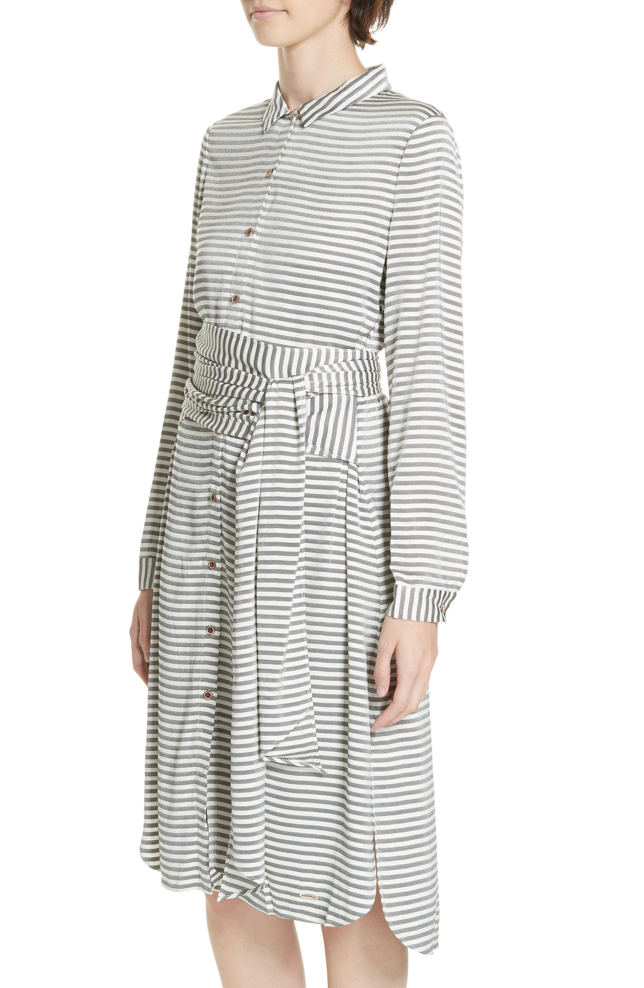 Colour by Numbers Sandre Stripe Shirtdress,                             Alternate thumbnail 4, color,                             905