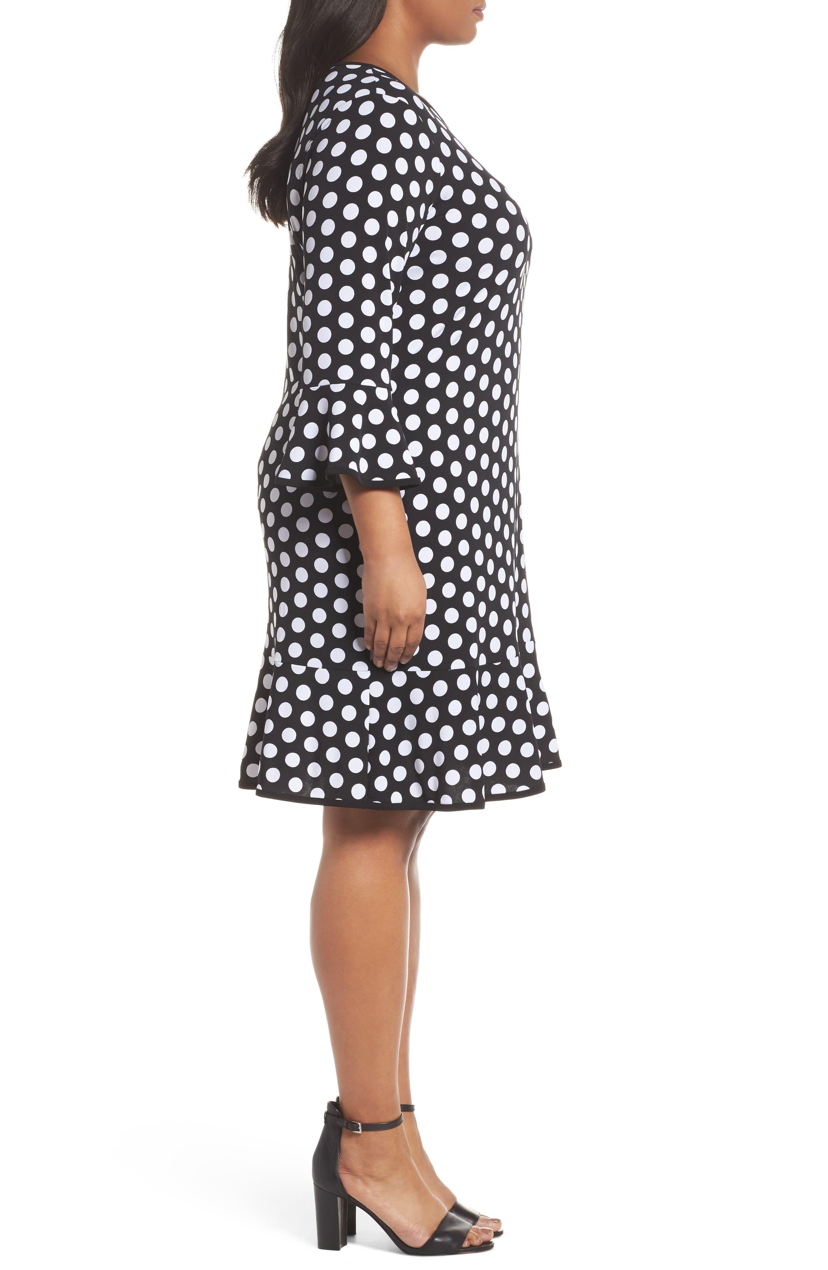 Simple Dot Flounce Dress,                             Alternate thumbnail 3, color,                             008