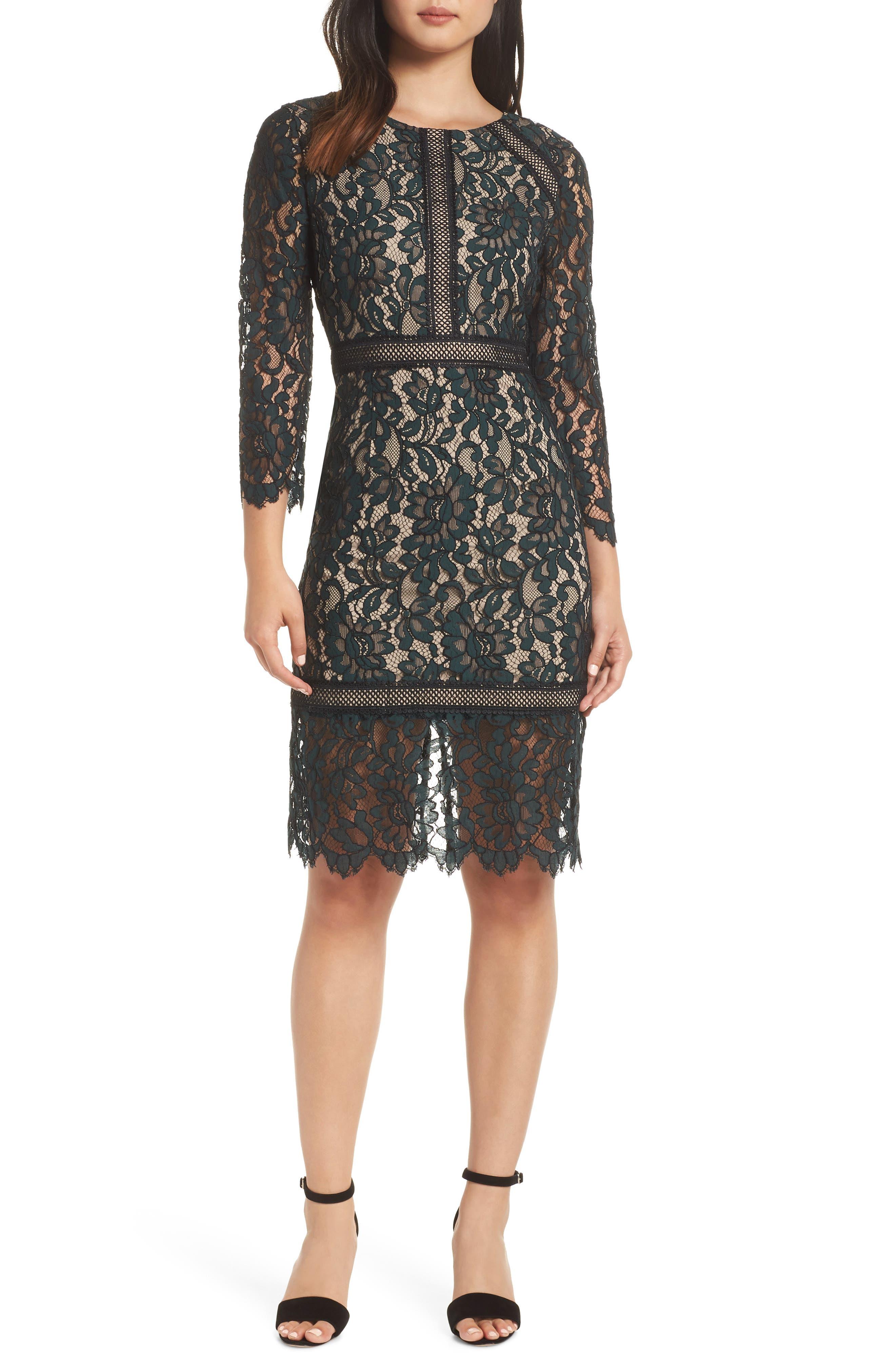 Lace Sheath Dress,                             Main thumbnail 1, color,                             GREEN