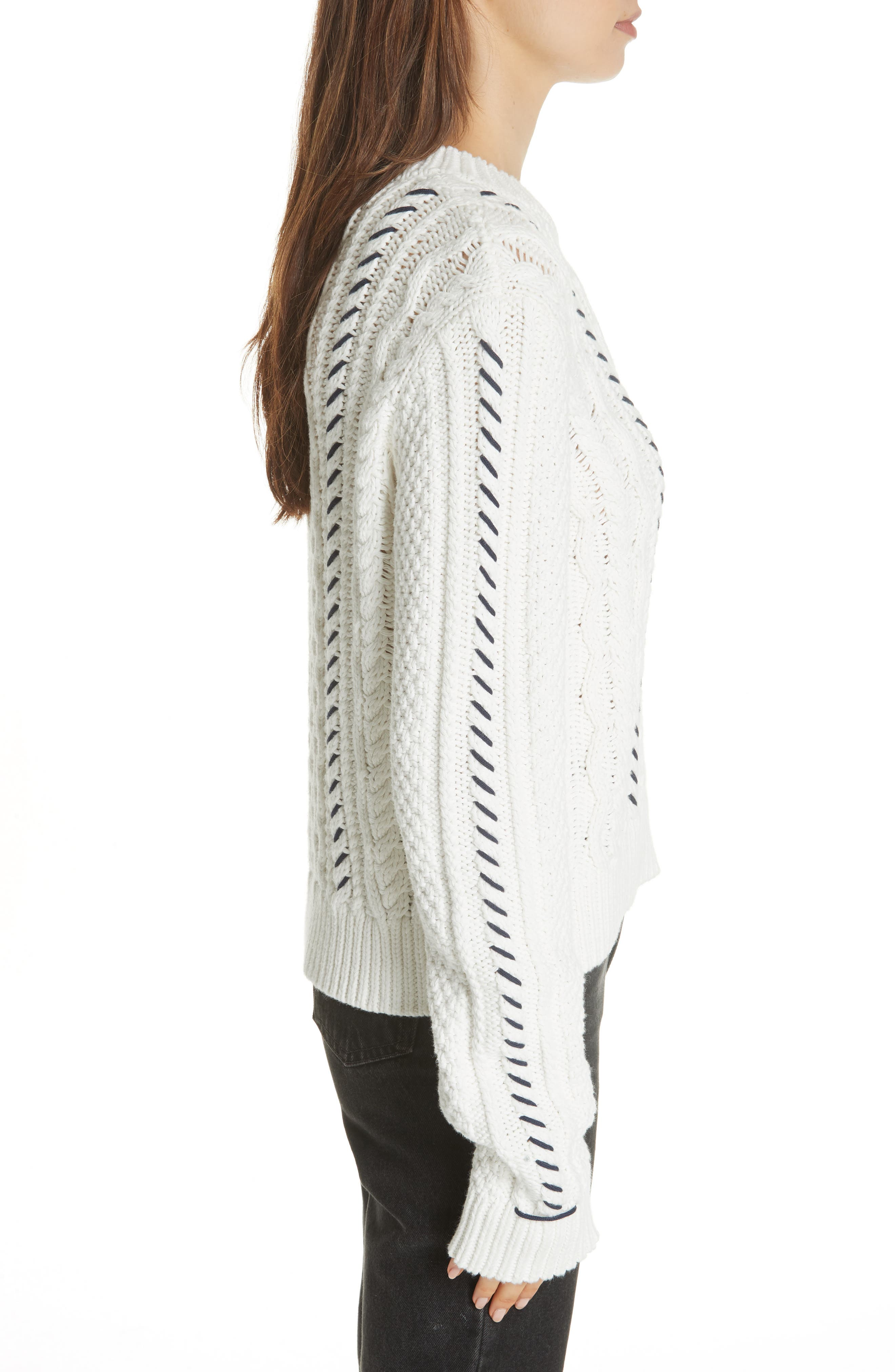 Cotton Fisherman Sweater,                             Alternate thumbnail 3, color,                             WHITE NAVY