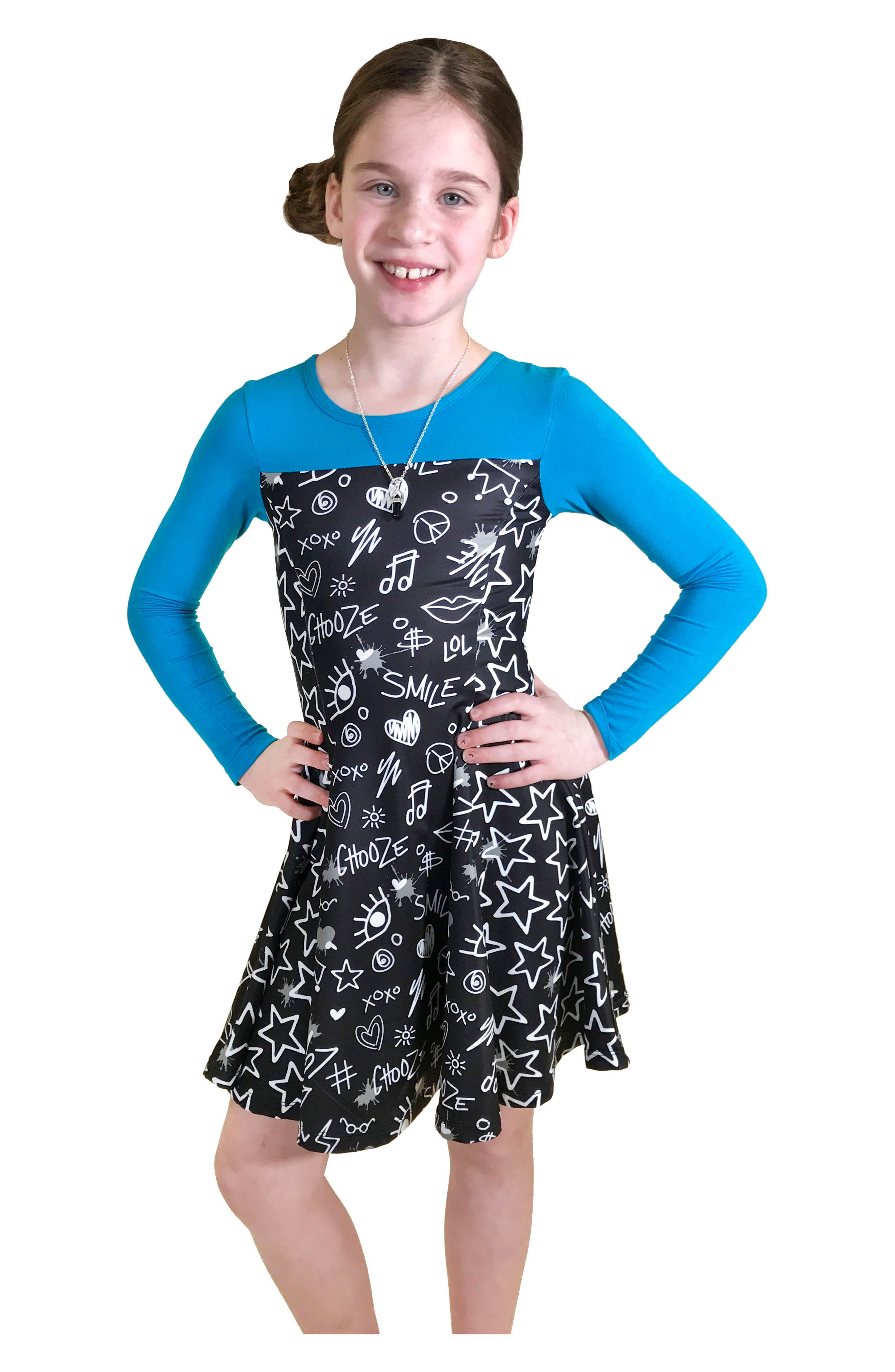 Lead Mixed Print Skater Dress,                             Alternate thumbnail 3, color,                             007