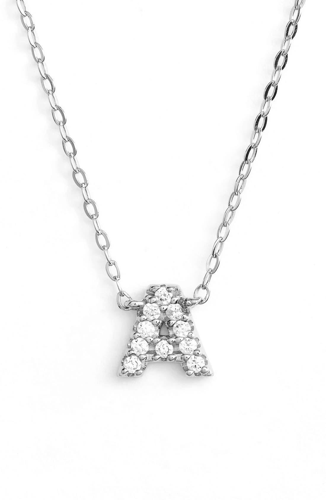 Cubic Zirconia Initial Pendant Necklace,                             Main thumbnail 1, color,                             040